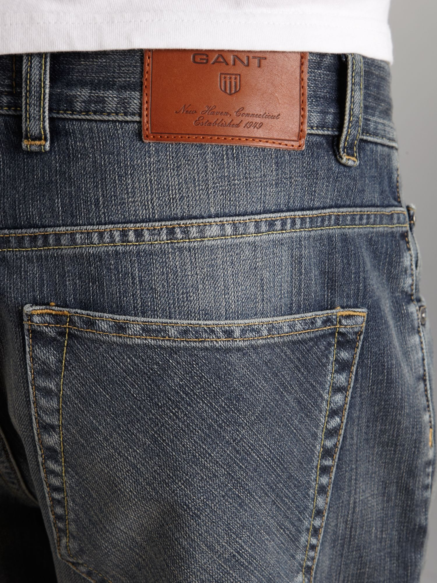 GANT Slim Fit Long Island Jeans in Mid Blue (Blue) for Men