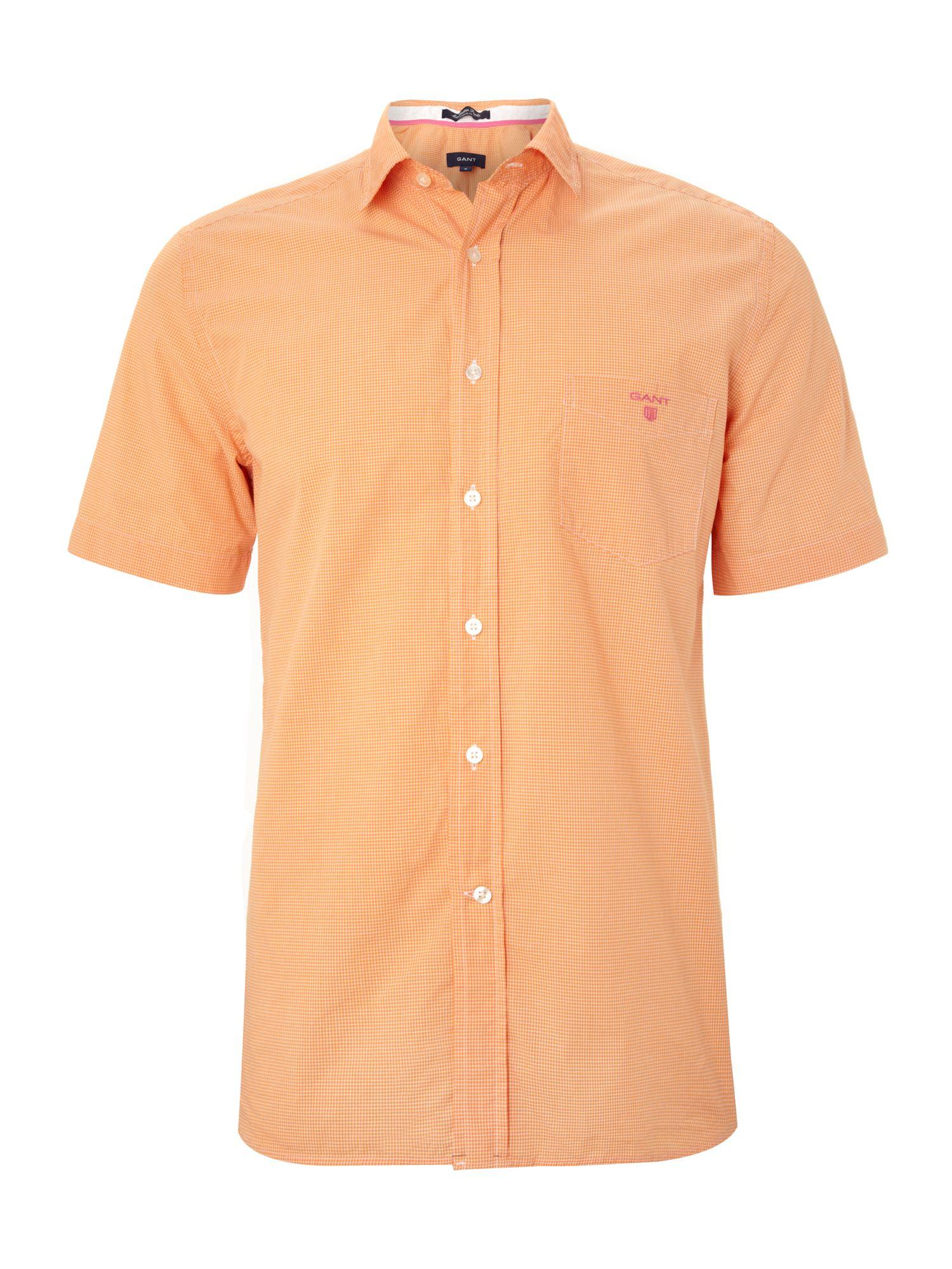 Gant Short Sleeve Custom Fit Multi Check Shirt In Orange