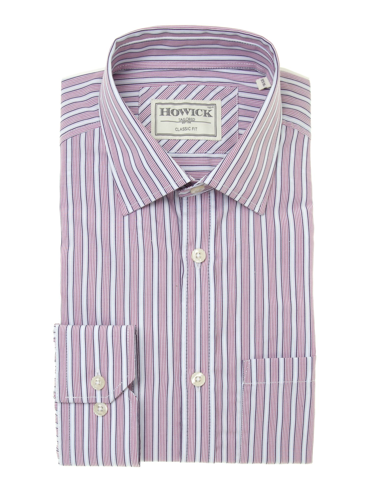 Howick Green Bold Stripe Single Cuff Shirt In Purple For