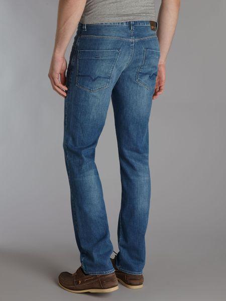 hugo boss orange 63 light wash slim jeans in blue for men denim light. Black Bedroom Furniture Sets. Home Design Ideas