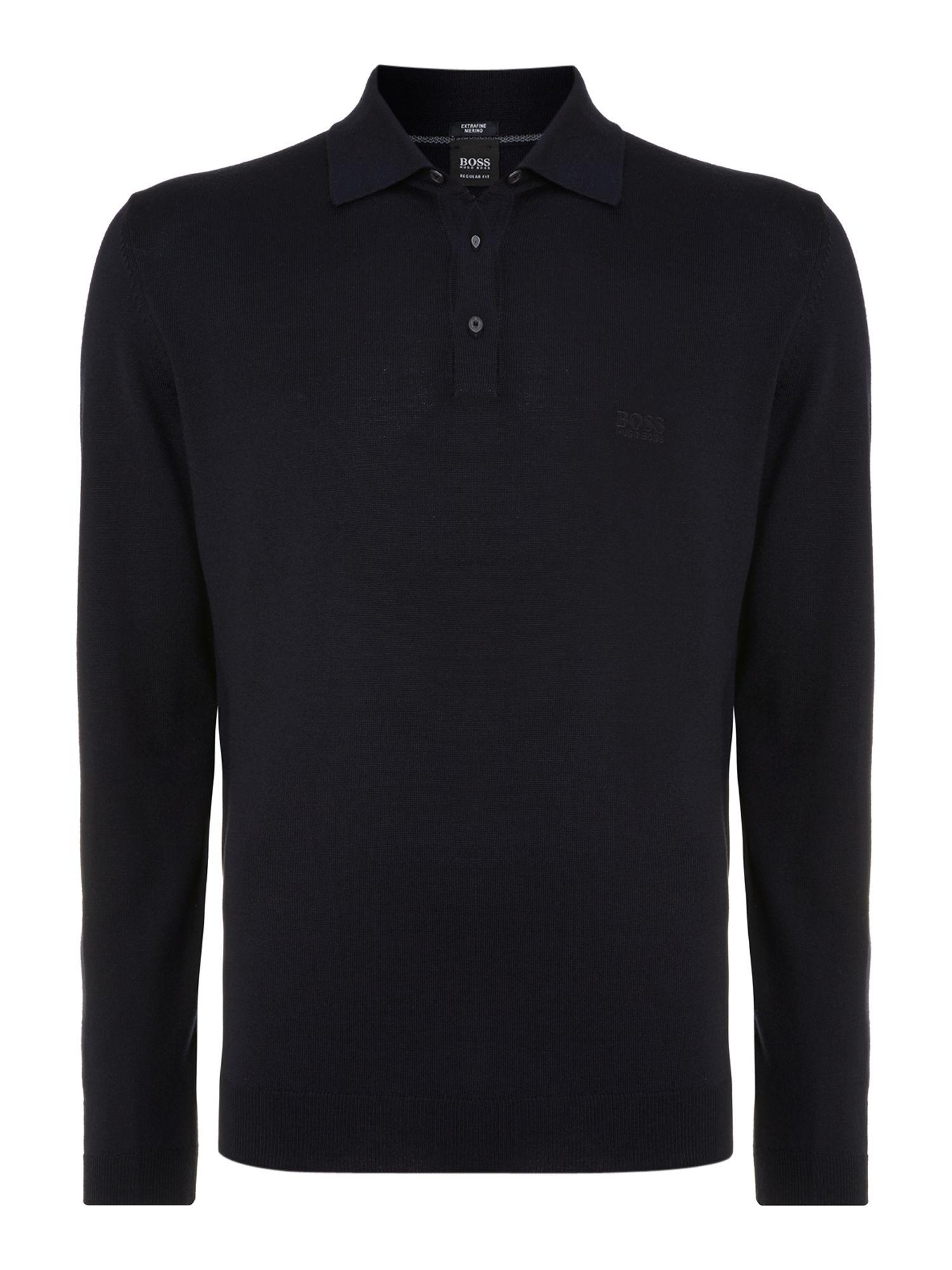 Hugo Boss Long Sleeve Knitted Polo In Blue For Men Navy