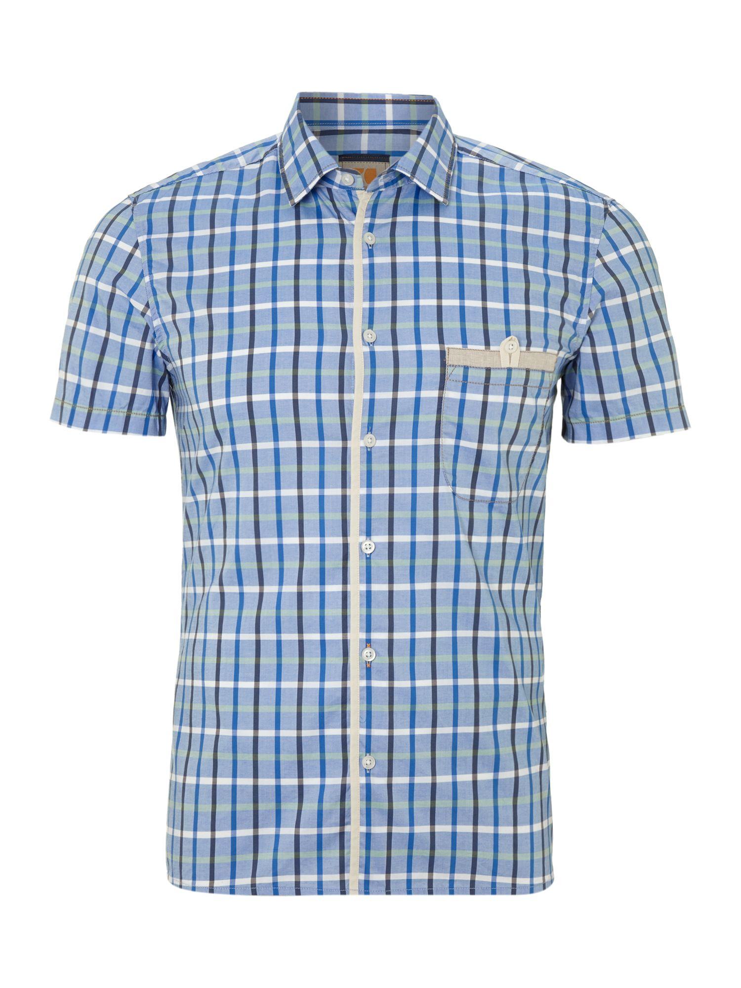 hugo boss short sleeved checked shirt in blue for men