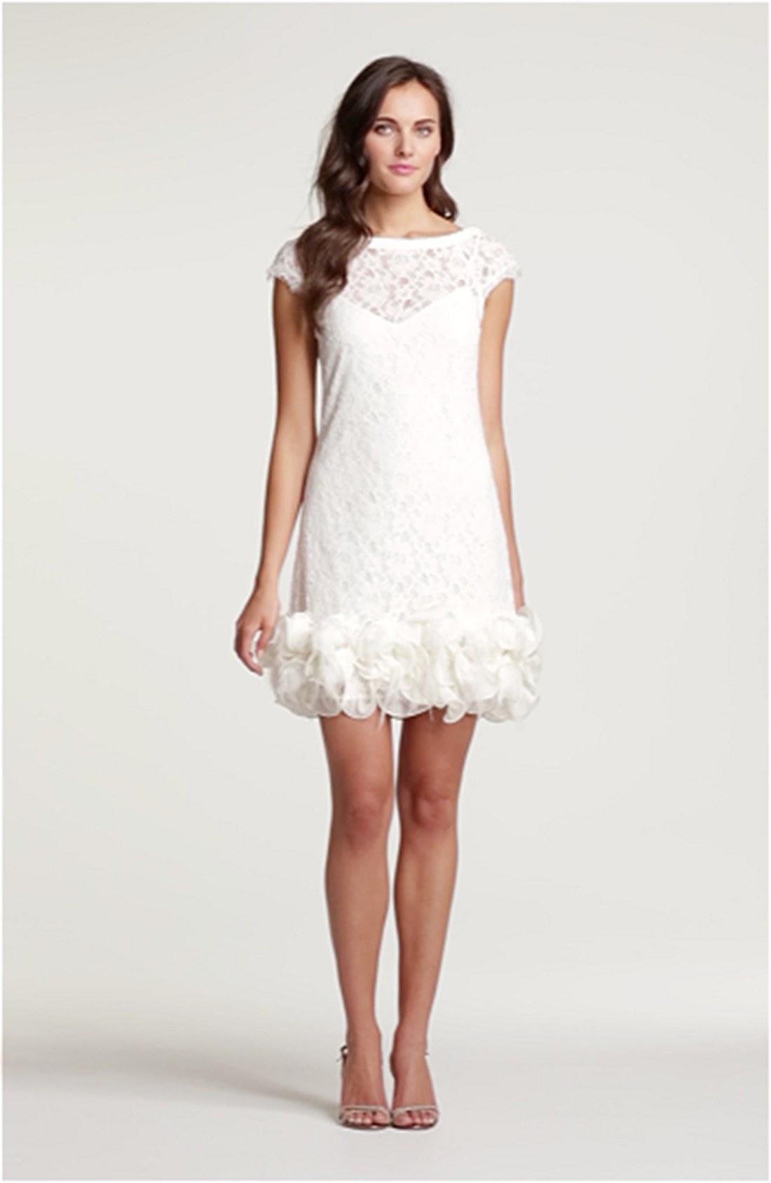 White feather trim dress.
