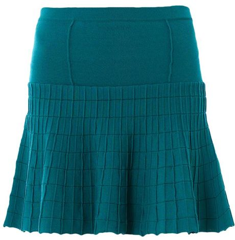 jonathan simkhai fit and flare knit skirt in blue teal