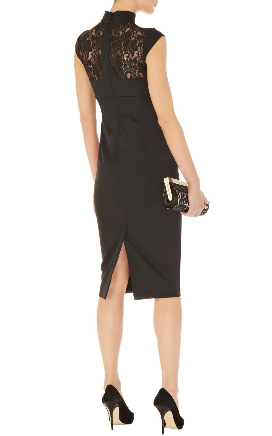Karen Millen Lace Sleeve Black Dress
