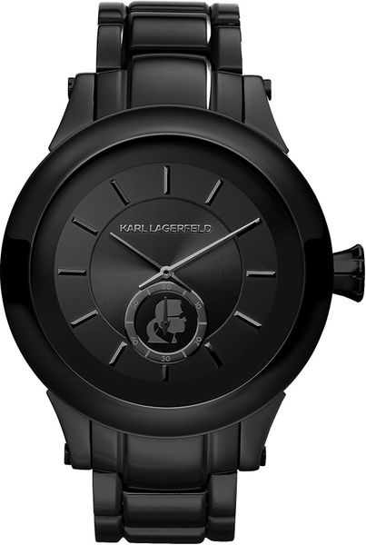 karl lagerfeld klassic stainless steel mens in black