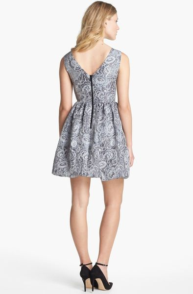 Kate Spade Arlene Embroidered Fit Flare Dress In Gray