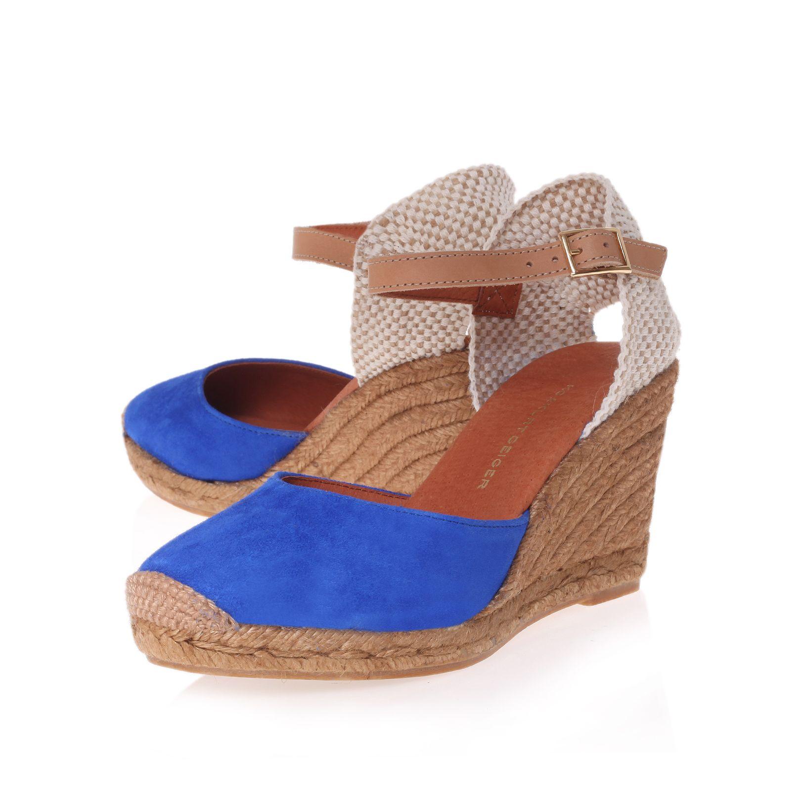 kg by kurt geiger monty wedge espadrille shoes in blue lyst