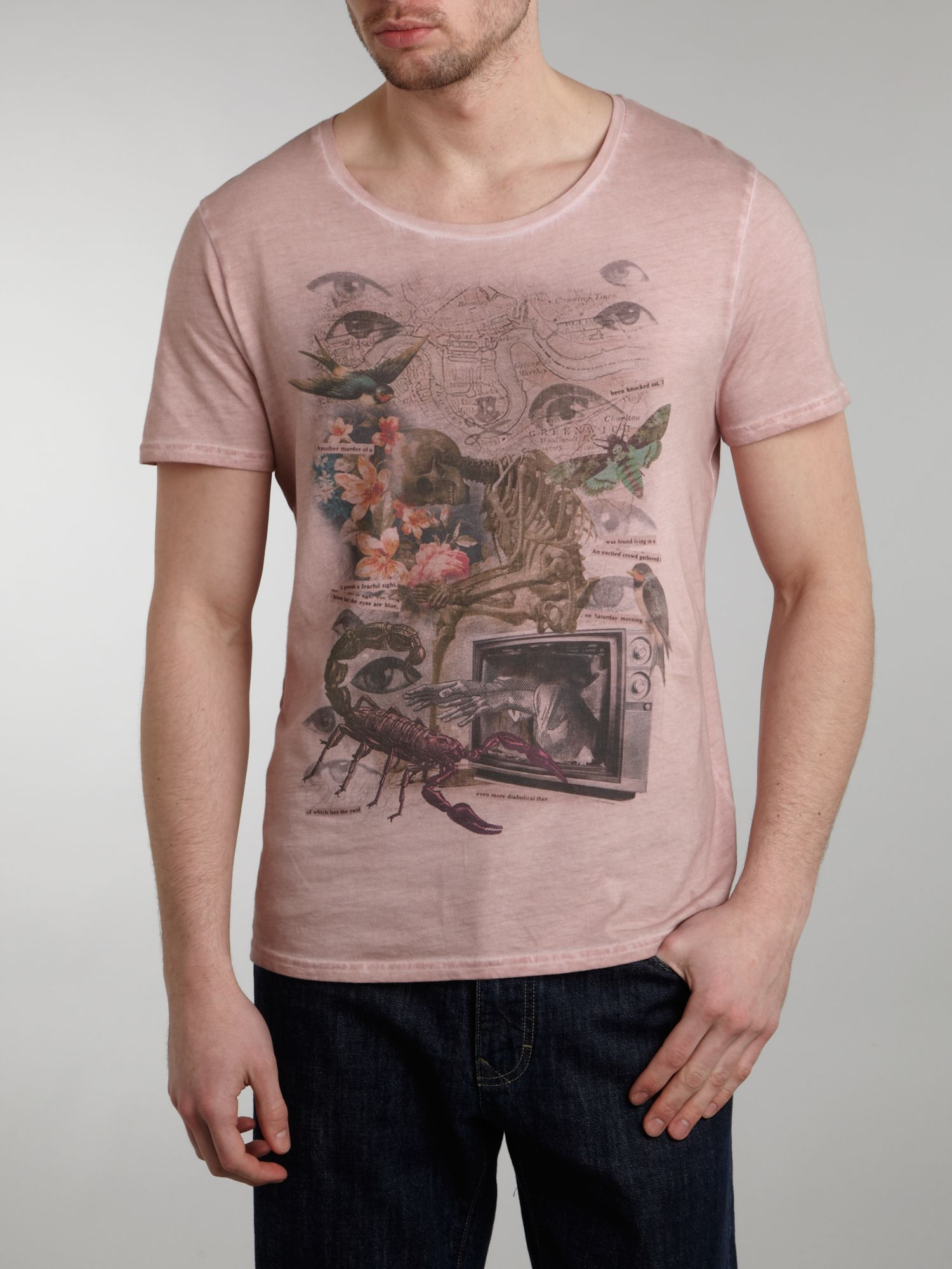 Label Lab Cotton Collage 2 Graphic Tshirt in Light Pink (Pink) for Men