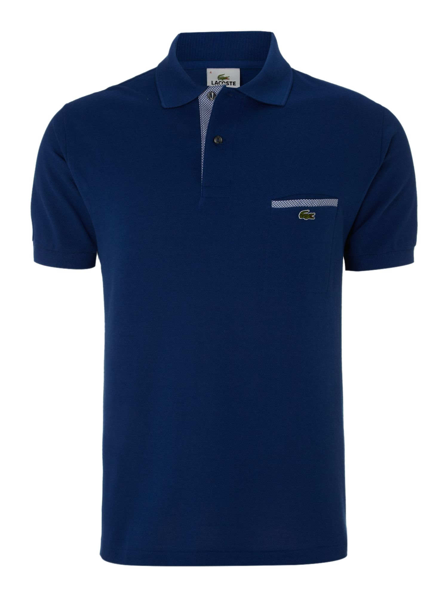 Lacoste polo shirt with chest pocket detail in blue for for Men s polo shirts with chest pocket