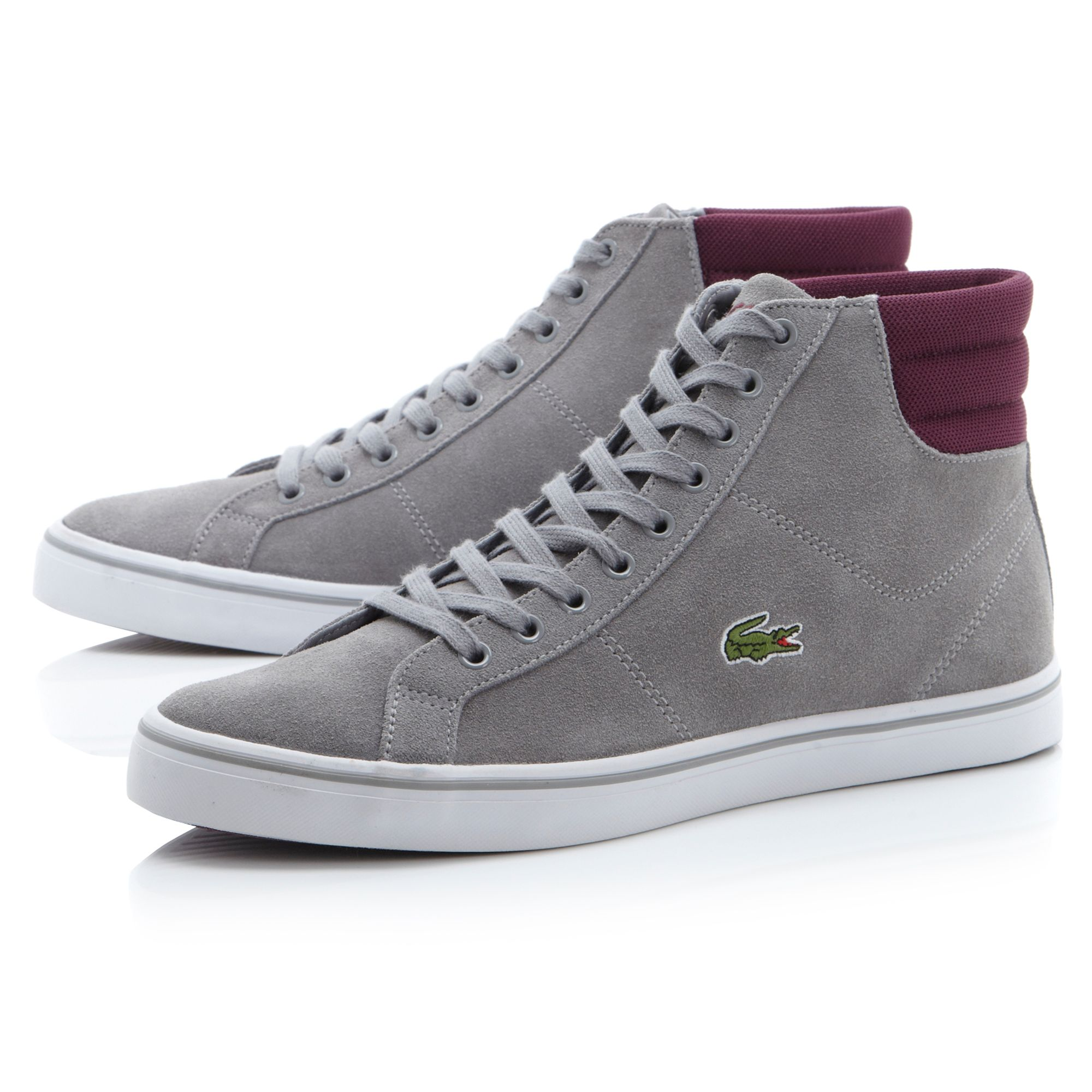 lacoste marcel suede hi top sneaker trainers in gray for