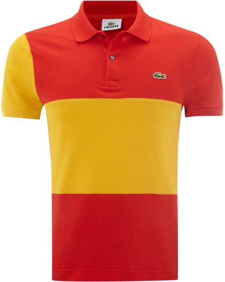 lacoste slim fit spain flag polo shirt in red for men. Black Bedroom Furniture Sets. Home Design Ideas