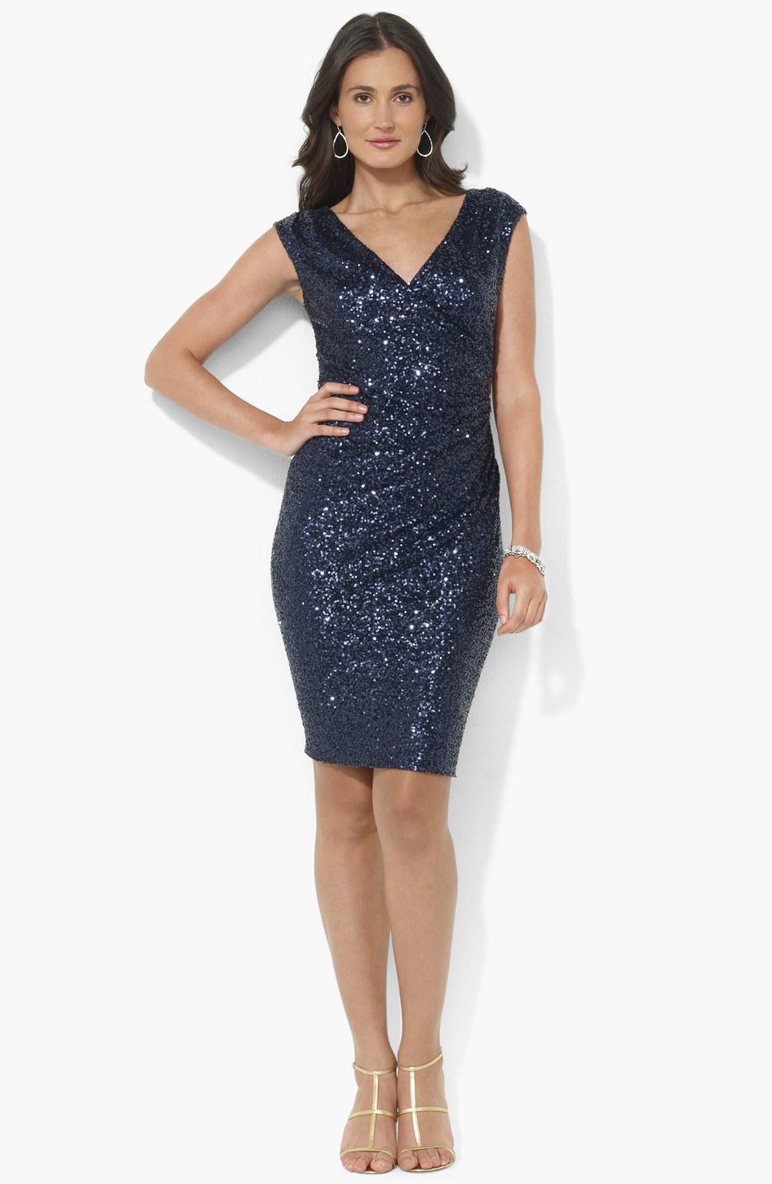 Navy Blue Sequin Dress