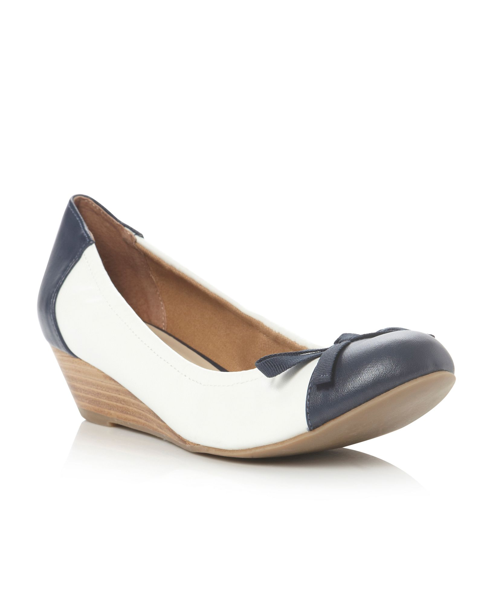 linea argyle bow trim low heel wedge shoes in white lyst