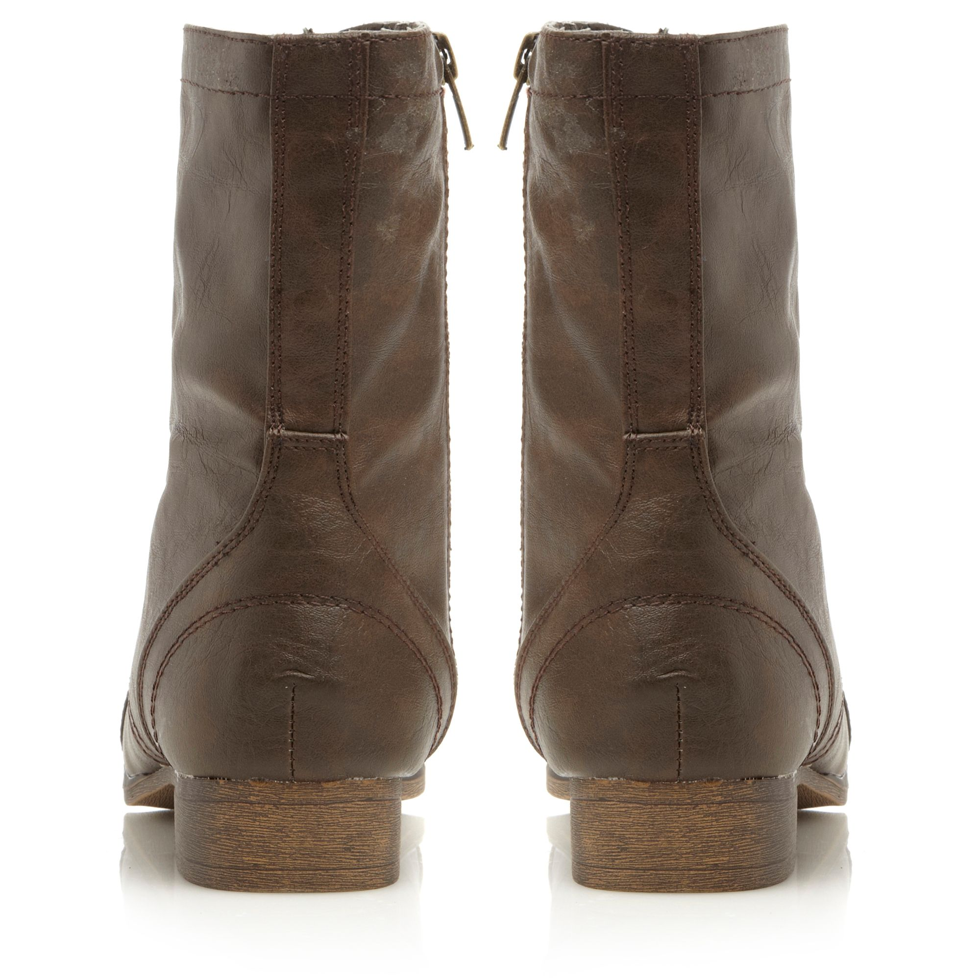 Madden Girl Gamer Round Toe Military Boots in Brown