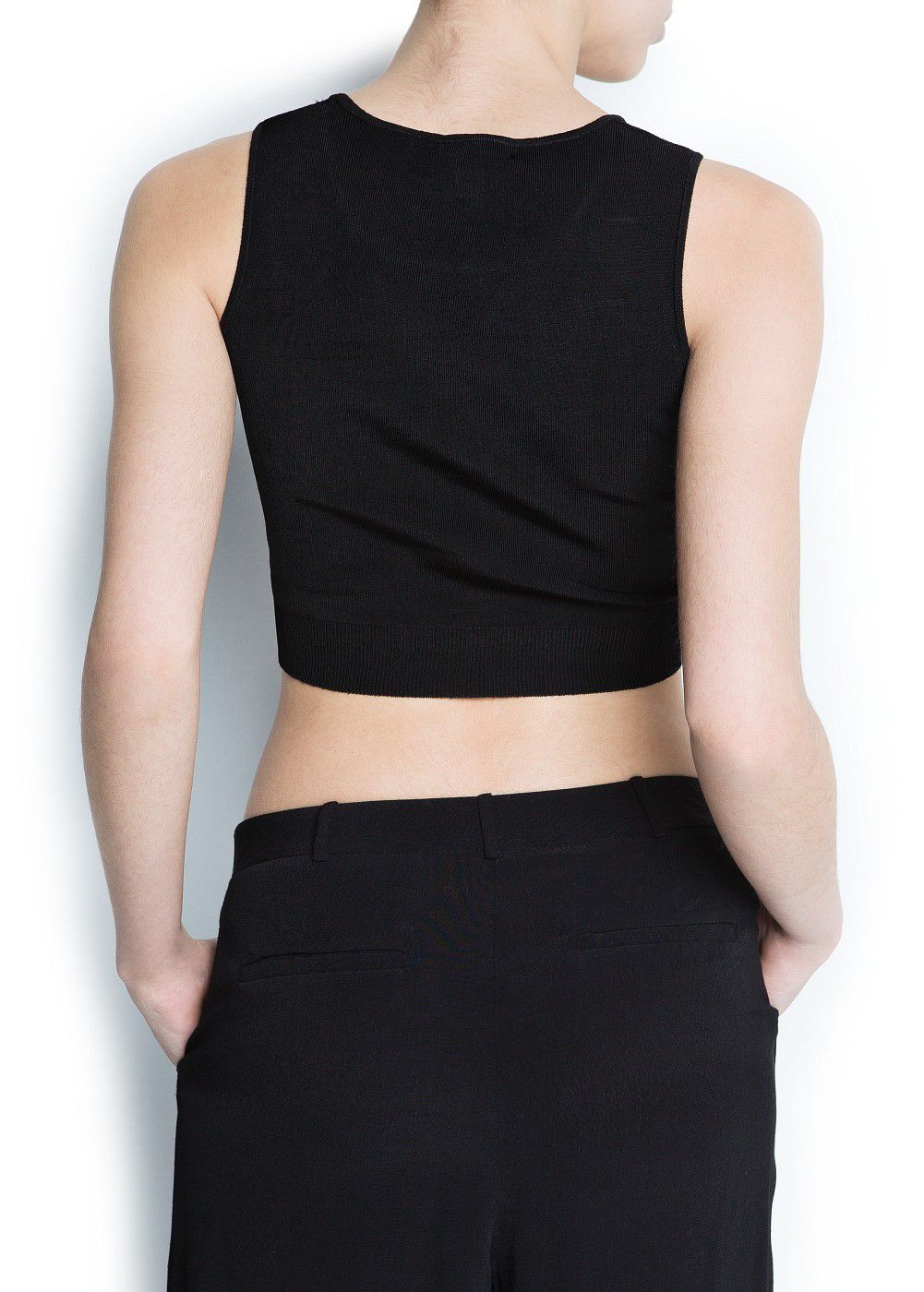 Mango Cropped Knit Top in Black