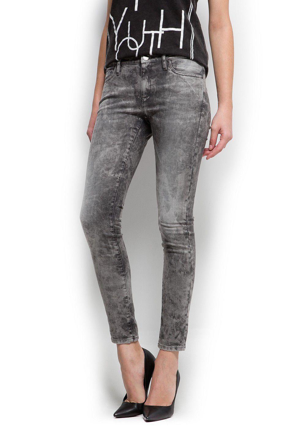 Mango Acid Wash Super Slim Jeans in Grey (Grey)