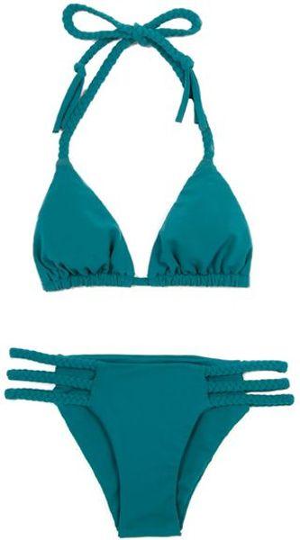 Mara Hoffman Braided Bikini in Teal in Green (teal)