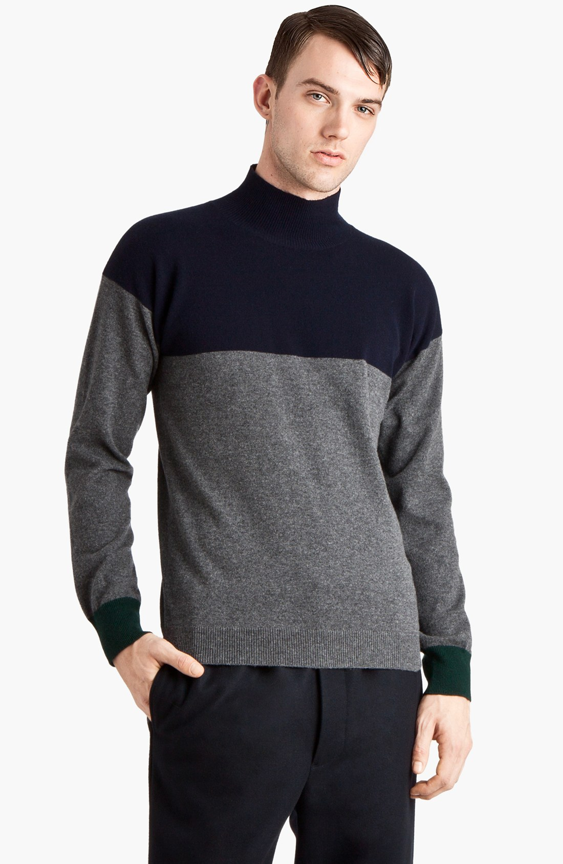 Marni Cashmere Mock Turtleneck Sweater In Gray For Men