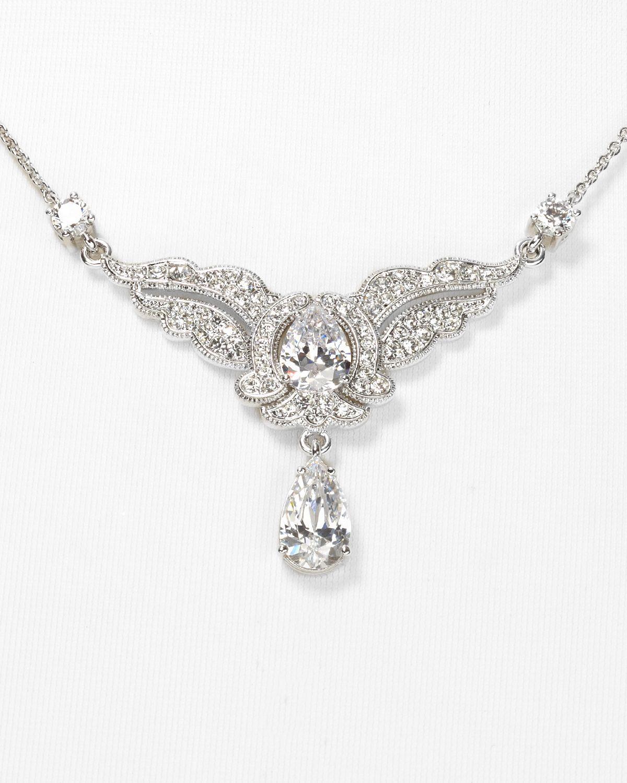 Nadri Frontal Silver Necklace 16 in Metallic