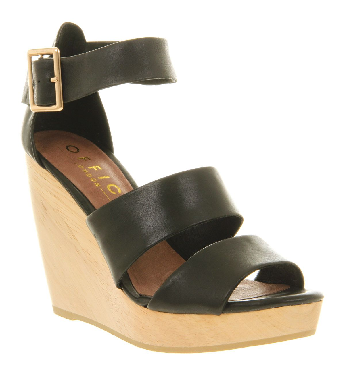 office oath wedge sandals in black black leather lyst