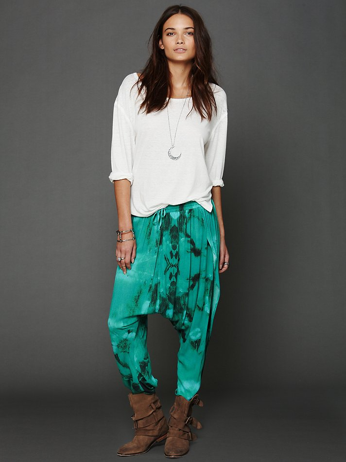 Lyst One Teaspoon Tie Dye Harem Pants In Green
