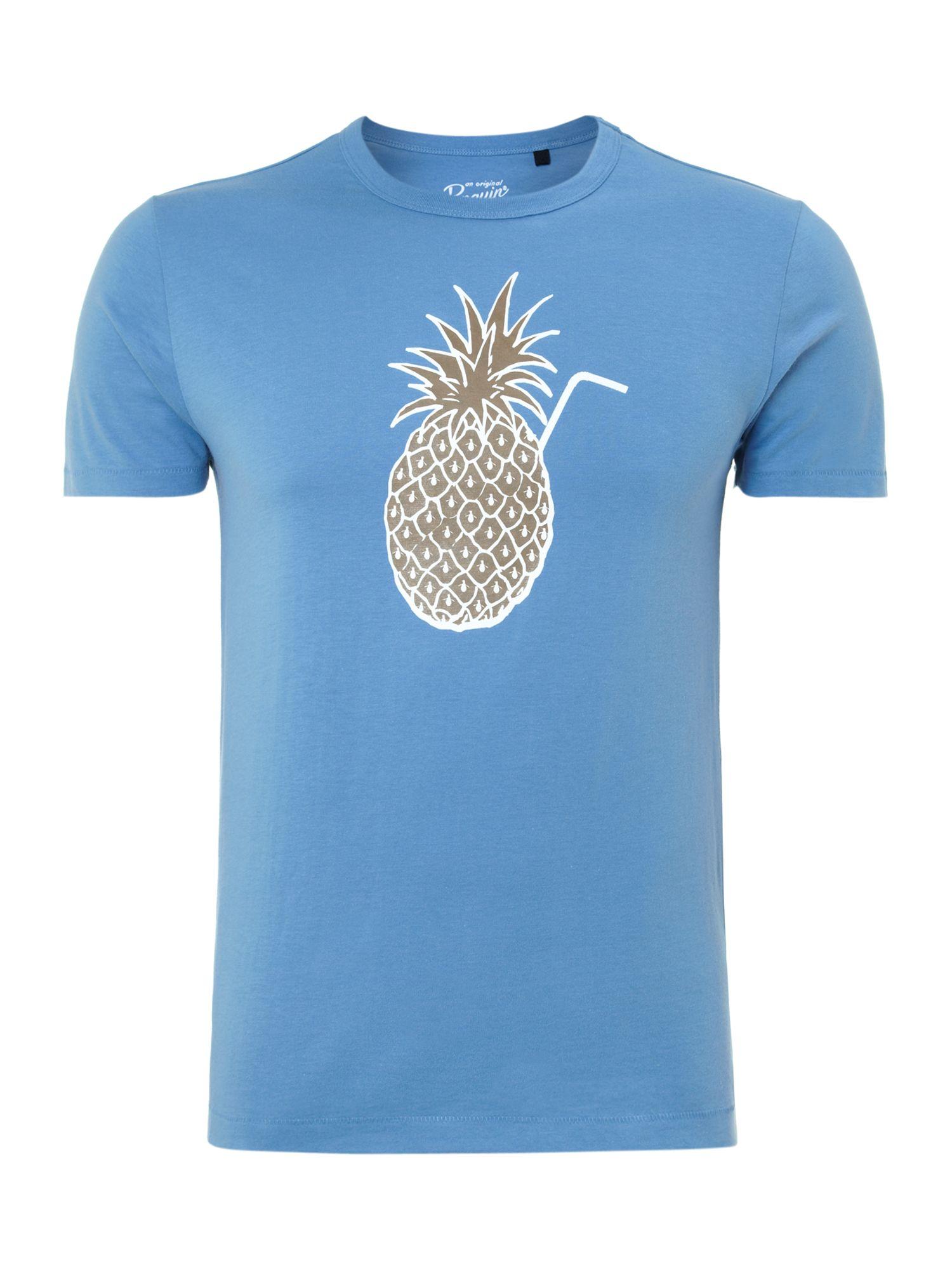 original penguin pina coloda print t shirt in blue for men. Black Bedroom Furniture Sets. Home Design Ideas