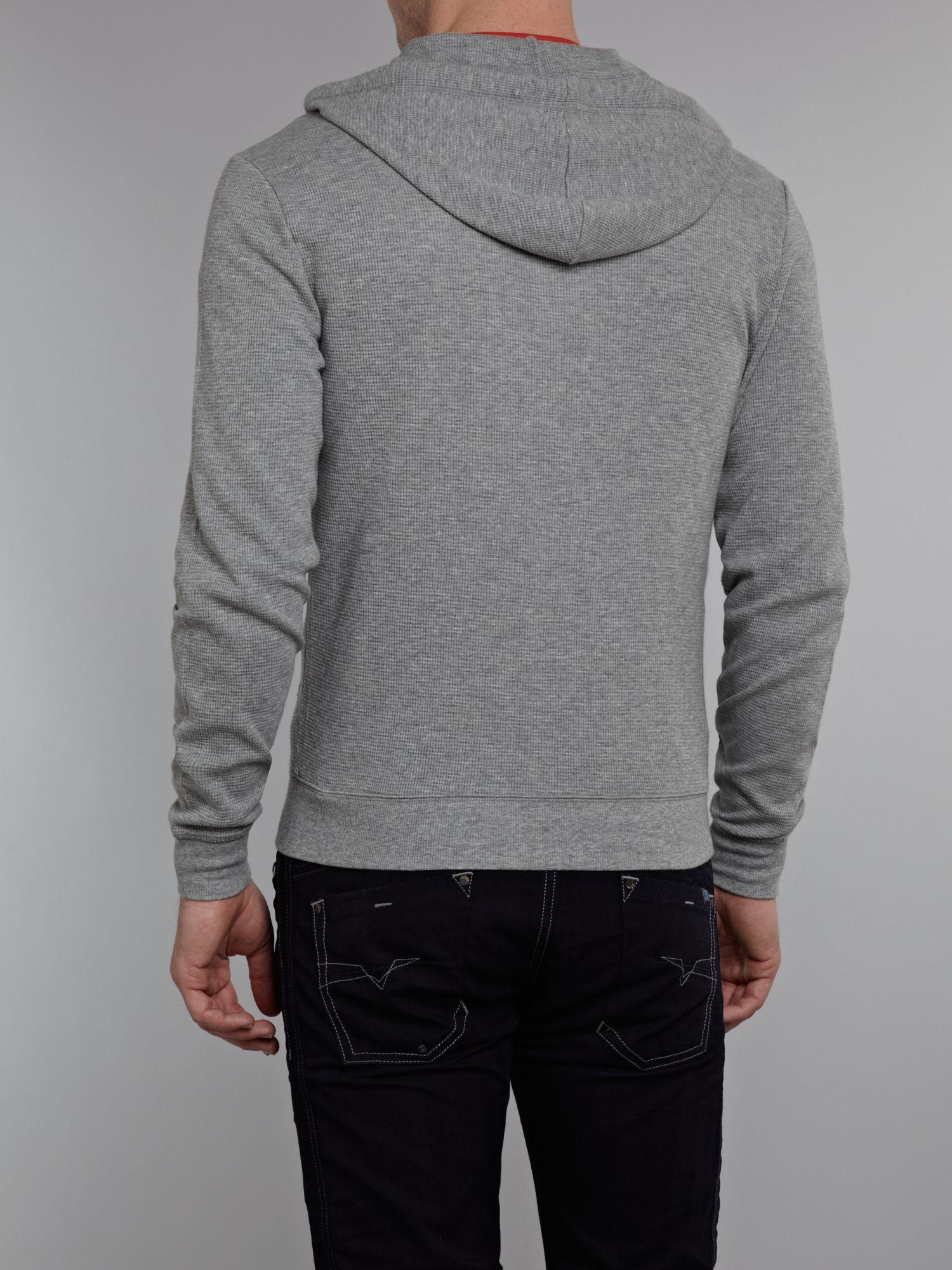 Original Penguin Double Face Zip Through Hooded Jumper in Grey (Grey) for Men