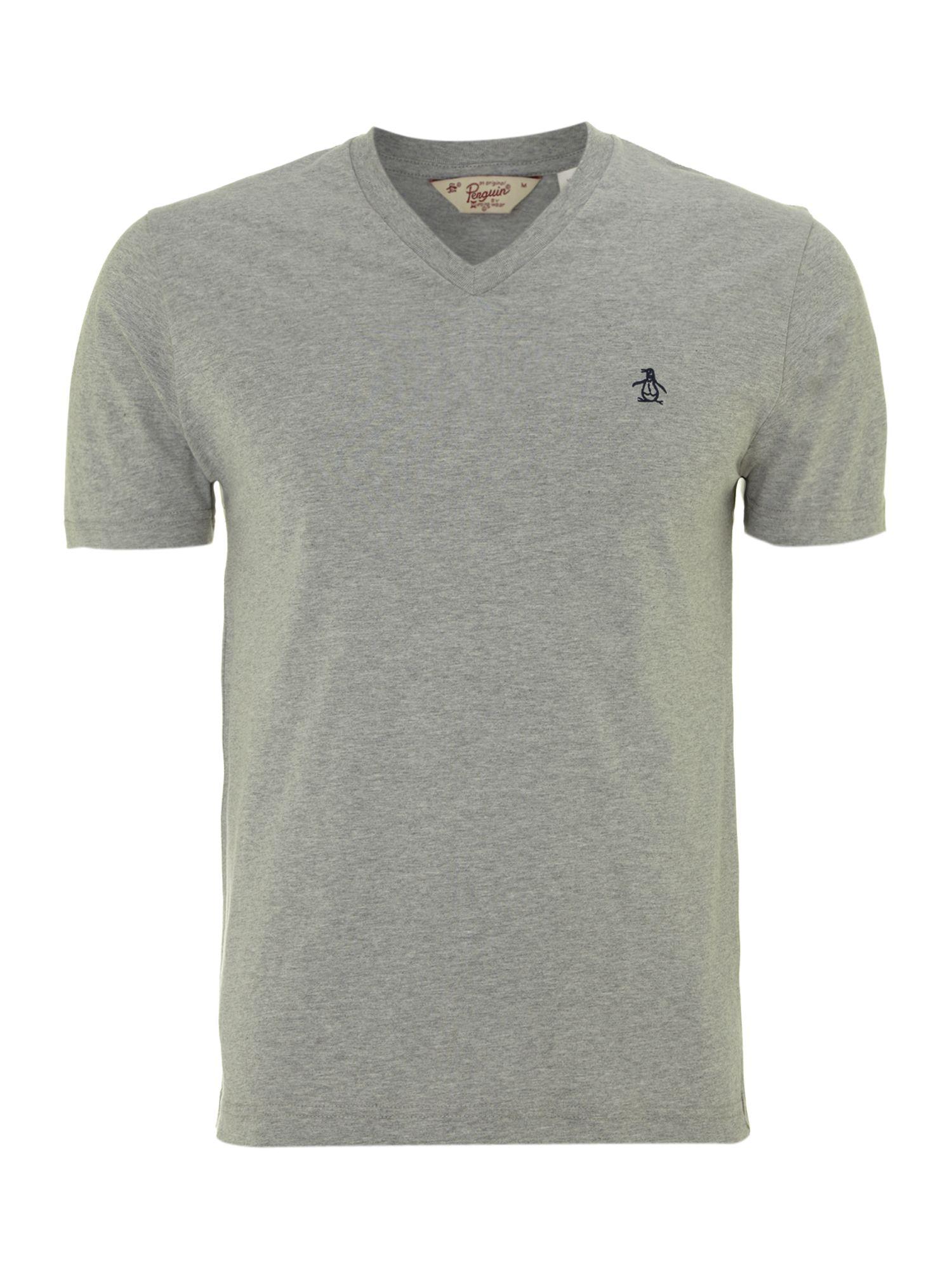 Original penguin v neck plain t shirt in gray for men lyst for Mens plain v neck t shirts