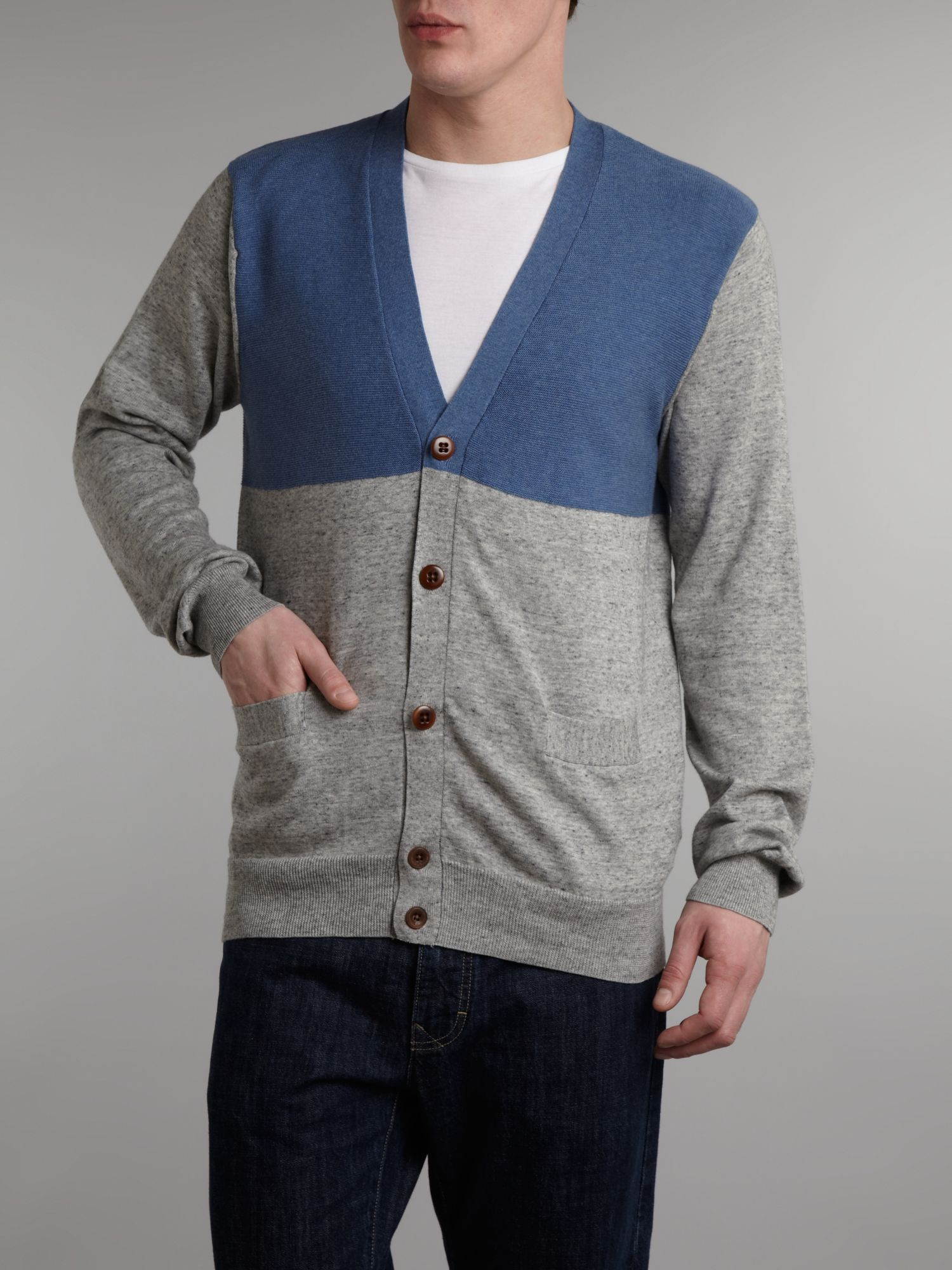 Paul Smith Two Tone Cardigan in Grey Marl (Blue) for Men