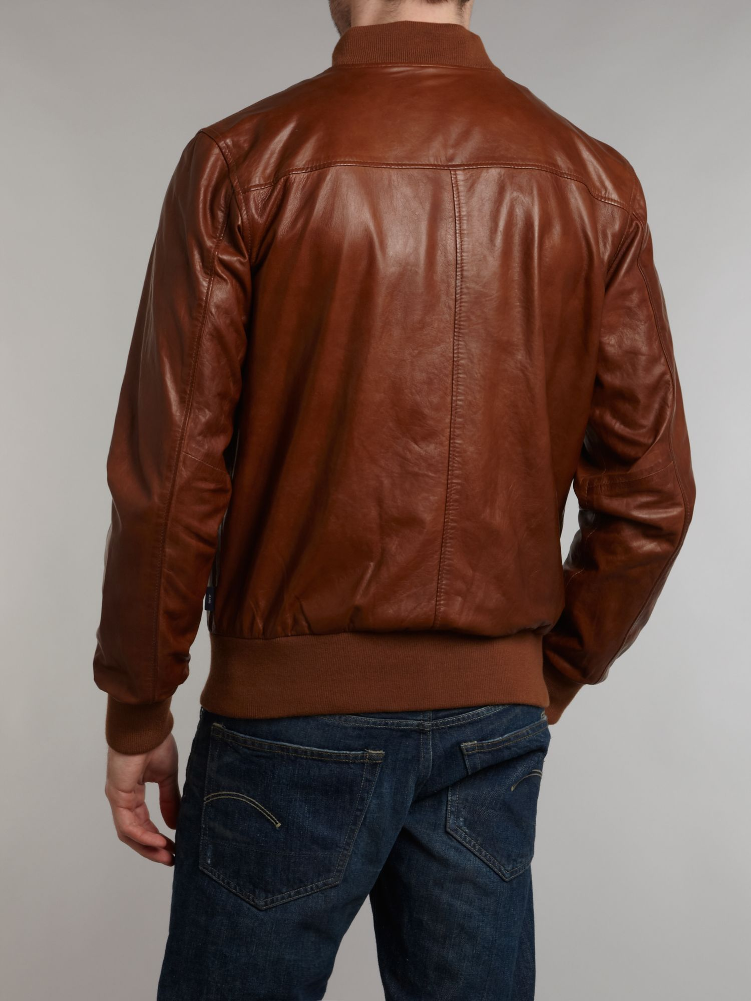 Paul Smith Leather Bomber Jacket in Tan (Brown) for Men