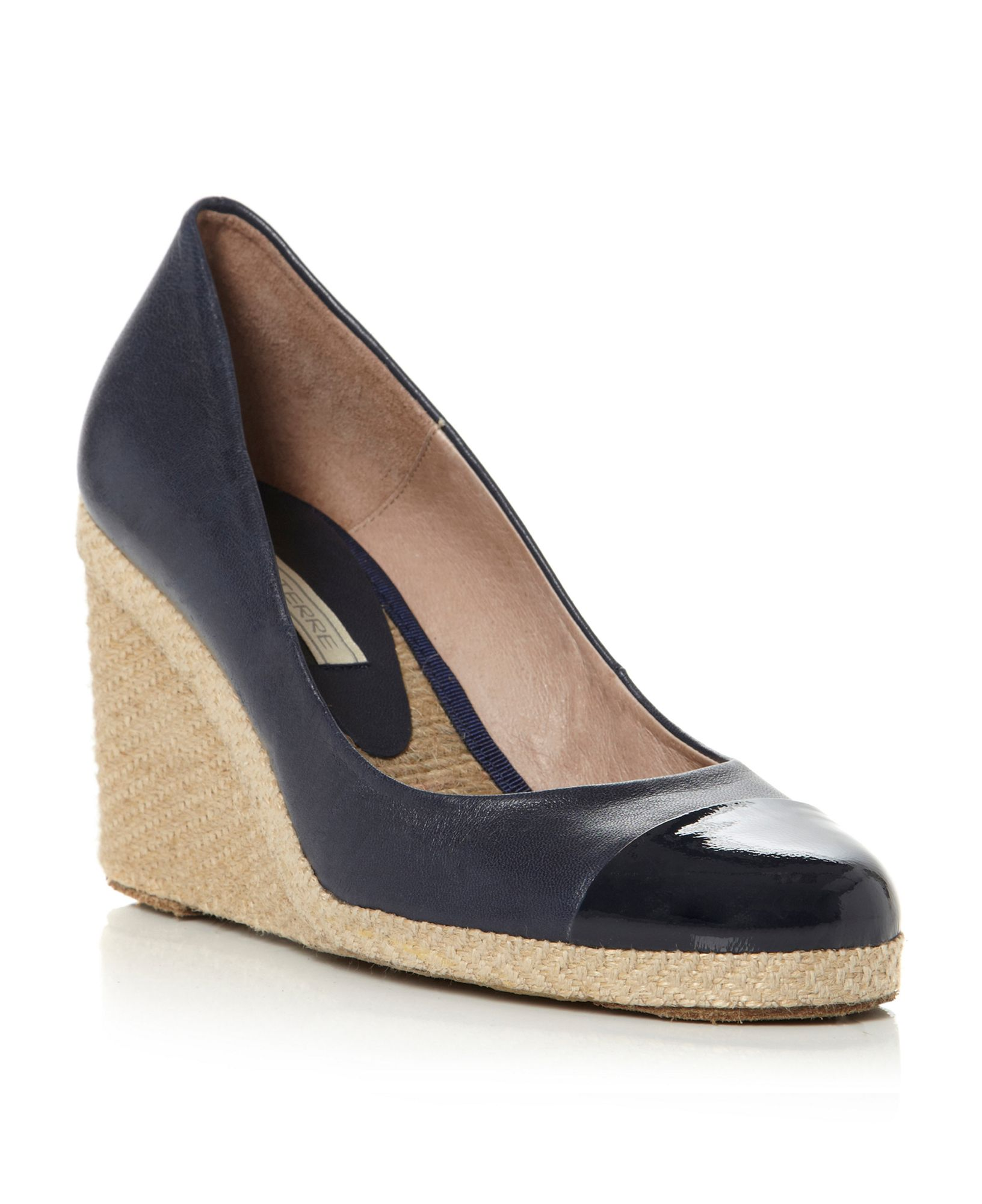 Pied A Terre Agape Toe Cap Espadrille Wedge Shoes In Black