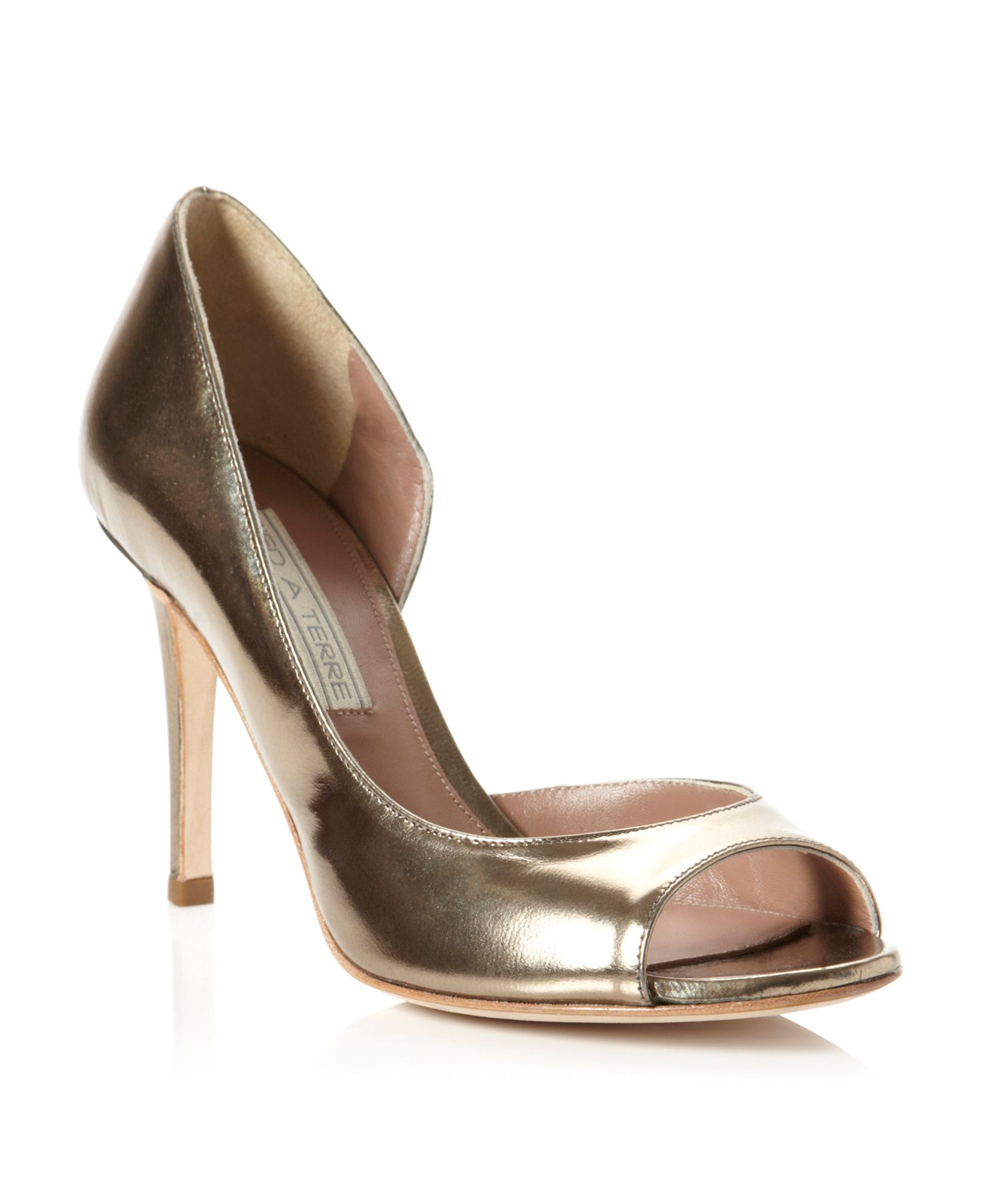 Pied A Terre Carland Peep Toe Court Shoes In Gold Pewter