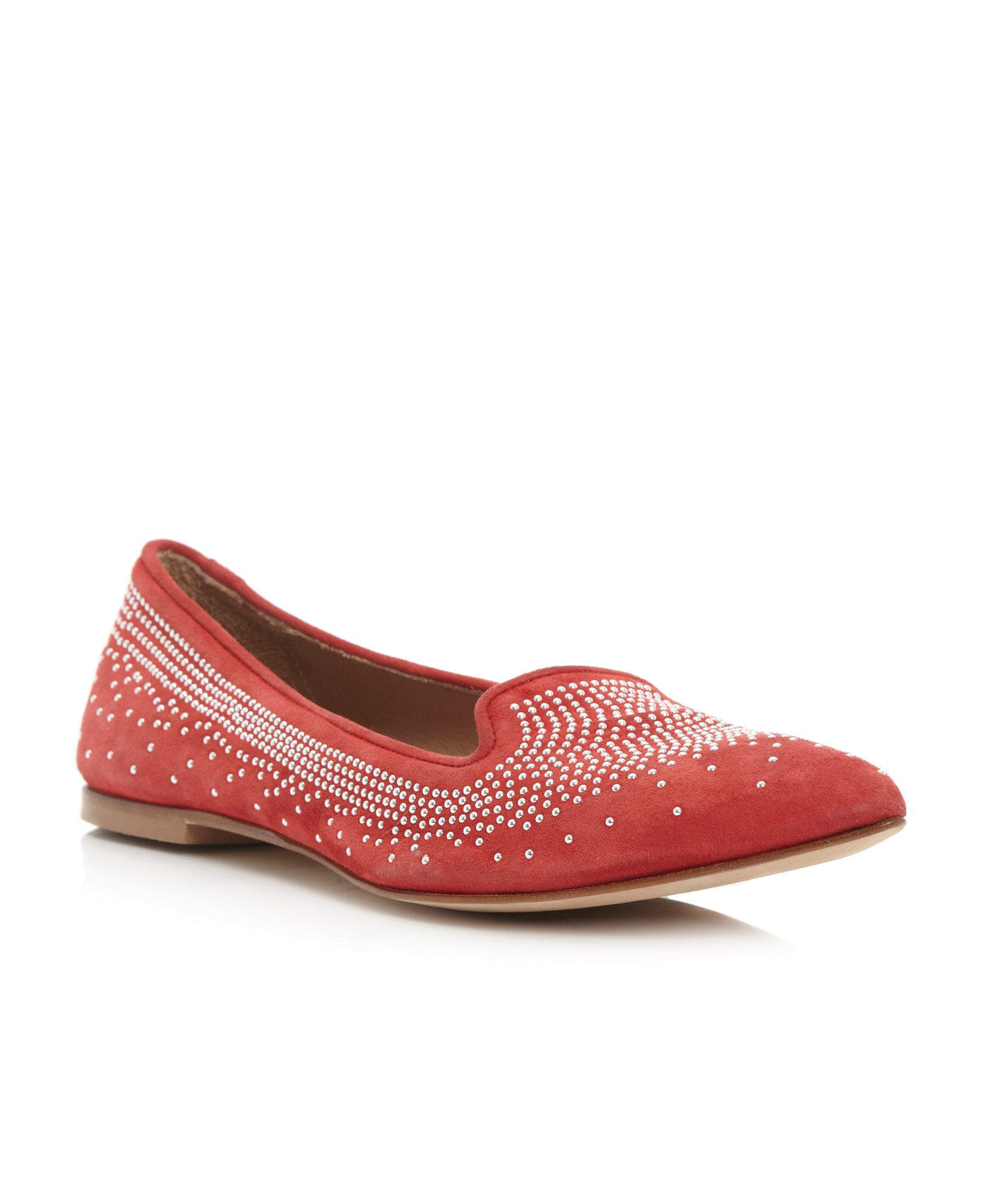 Pied A Terre Gunda Studded Pointed Loafer Shoes In Red Lyst