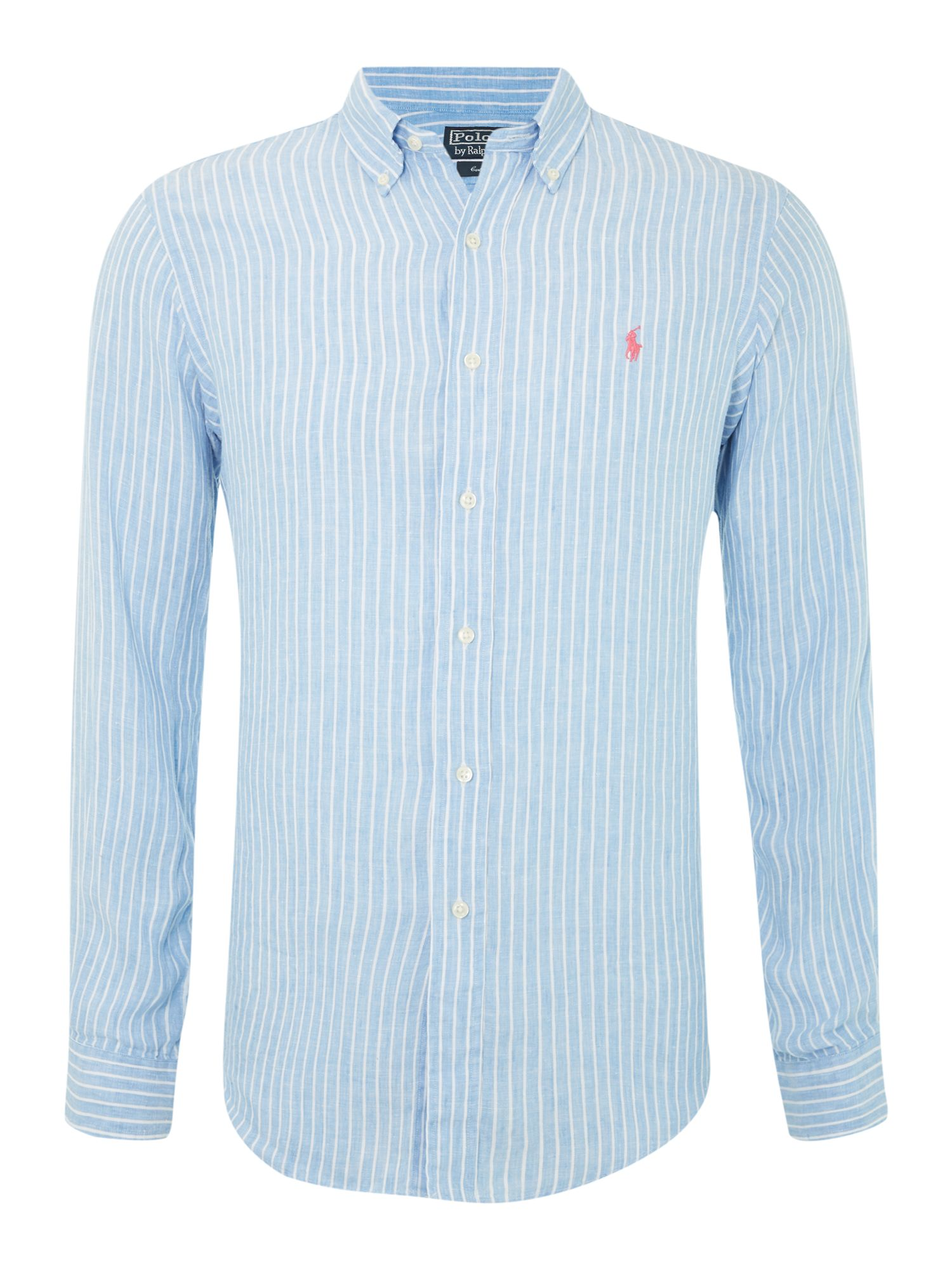 Polo Ralph Lauren Long Sleeved Custom Fitted Shirt In Blue