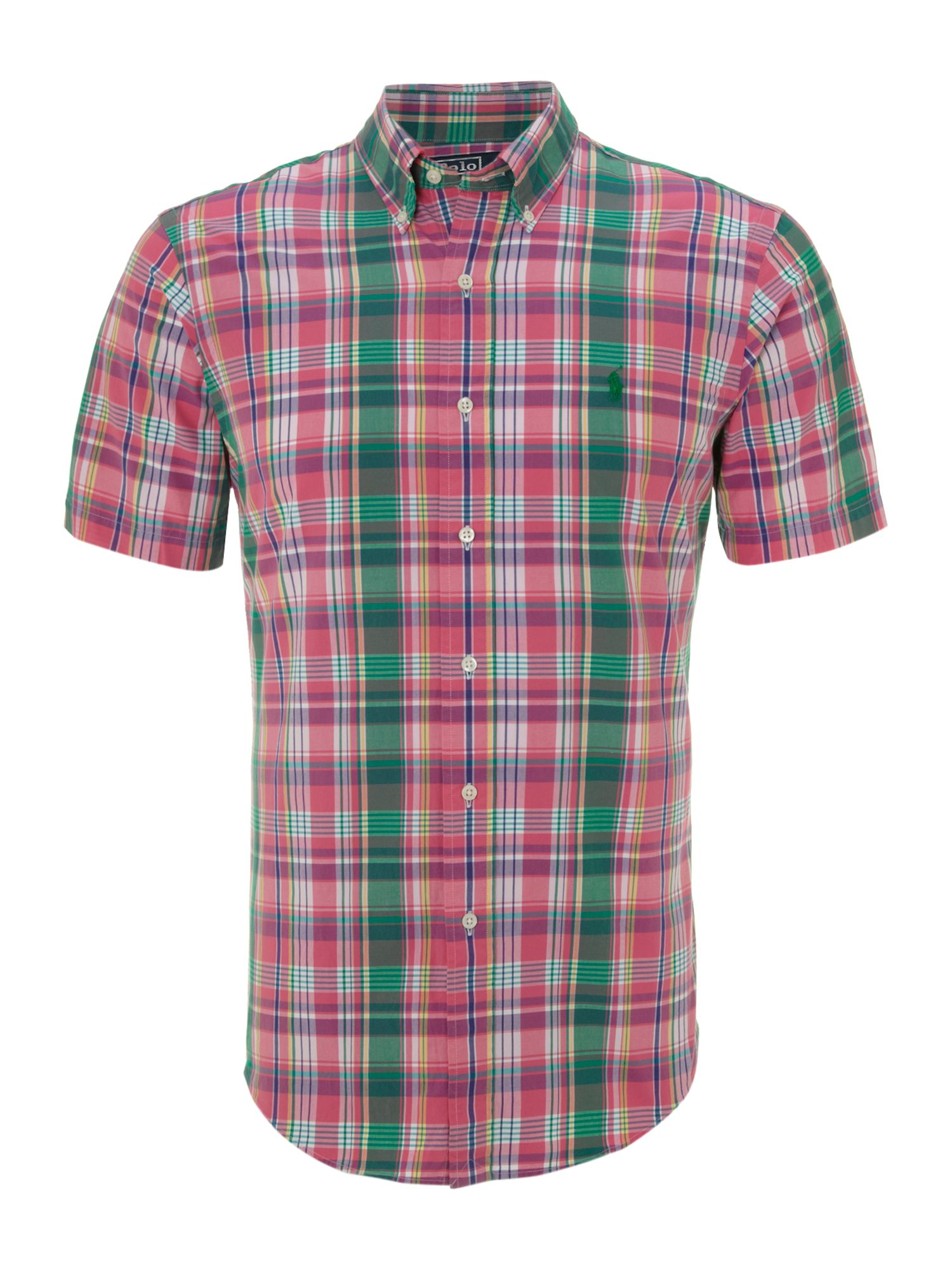 Polo ralph lauren short sleeved checked shirt in pink for for Polo shirts without buttons