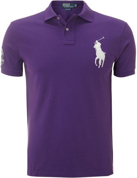 Polo ralph lauren customfit big pony polo in blue for men for Black ralph lauren shirt purple horse