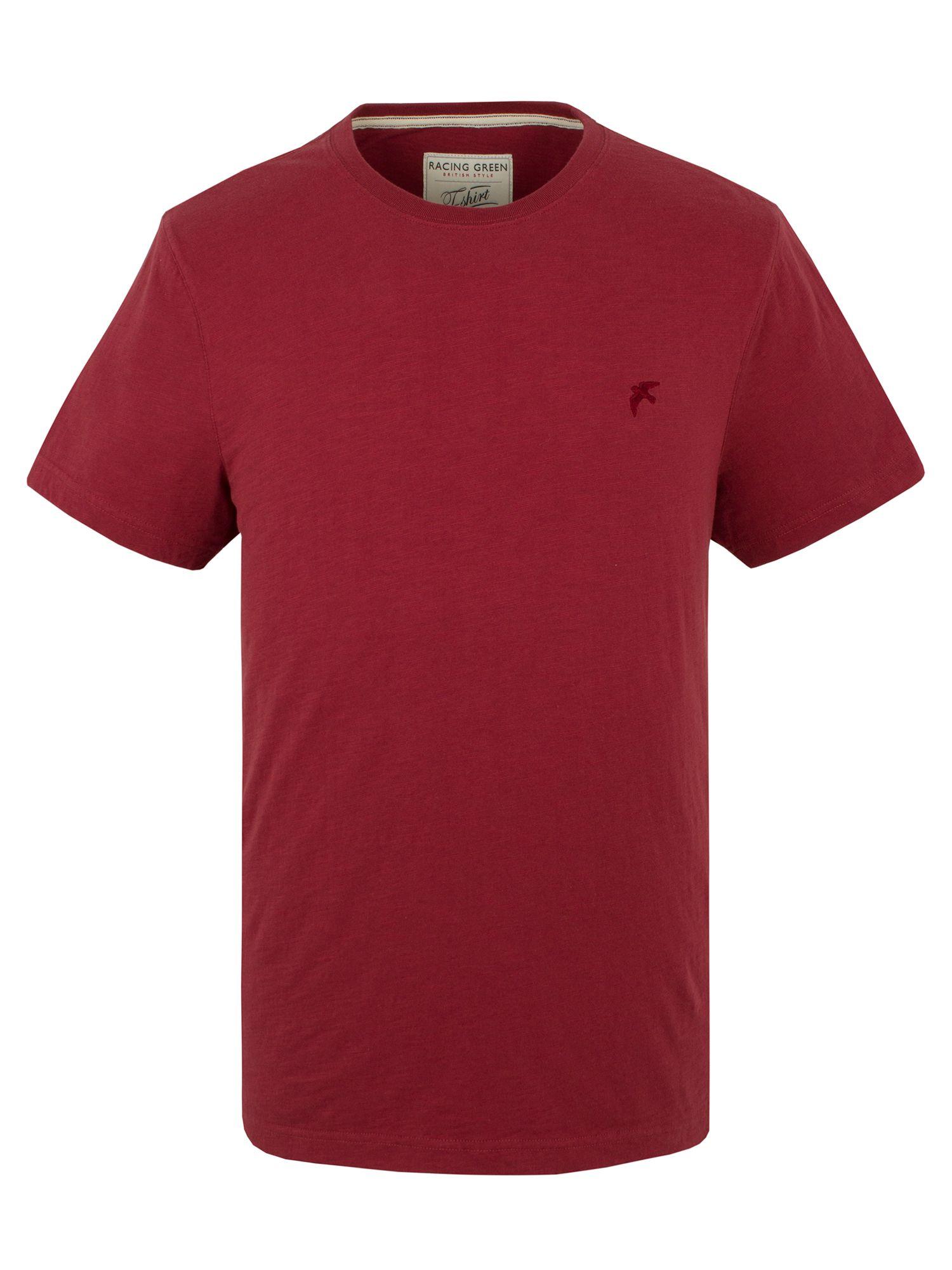 Racing green plain slub t shirt in red for men lyst for What is a slub shirt