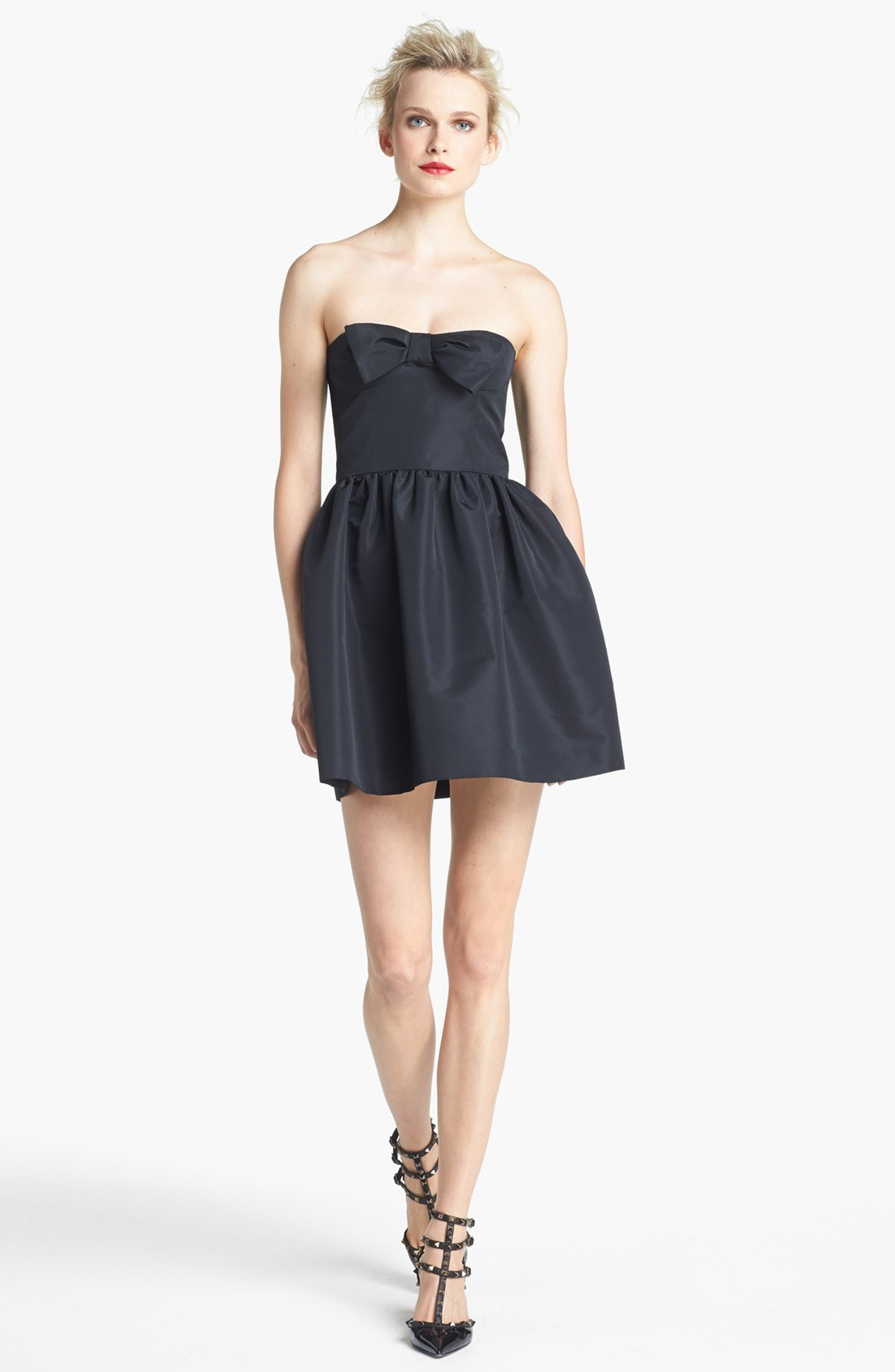 red valentino strapless bow detail dress in black lyst