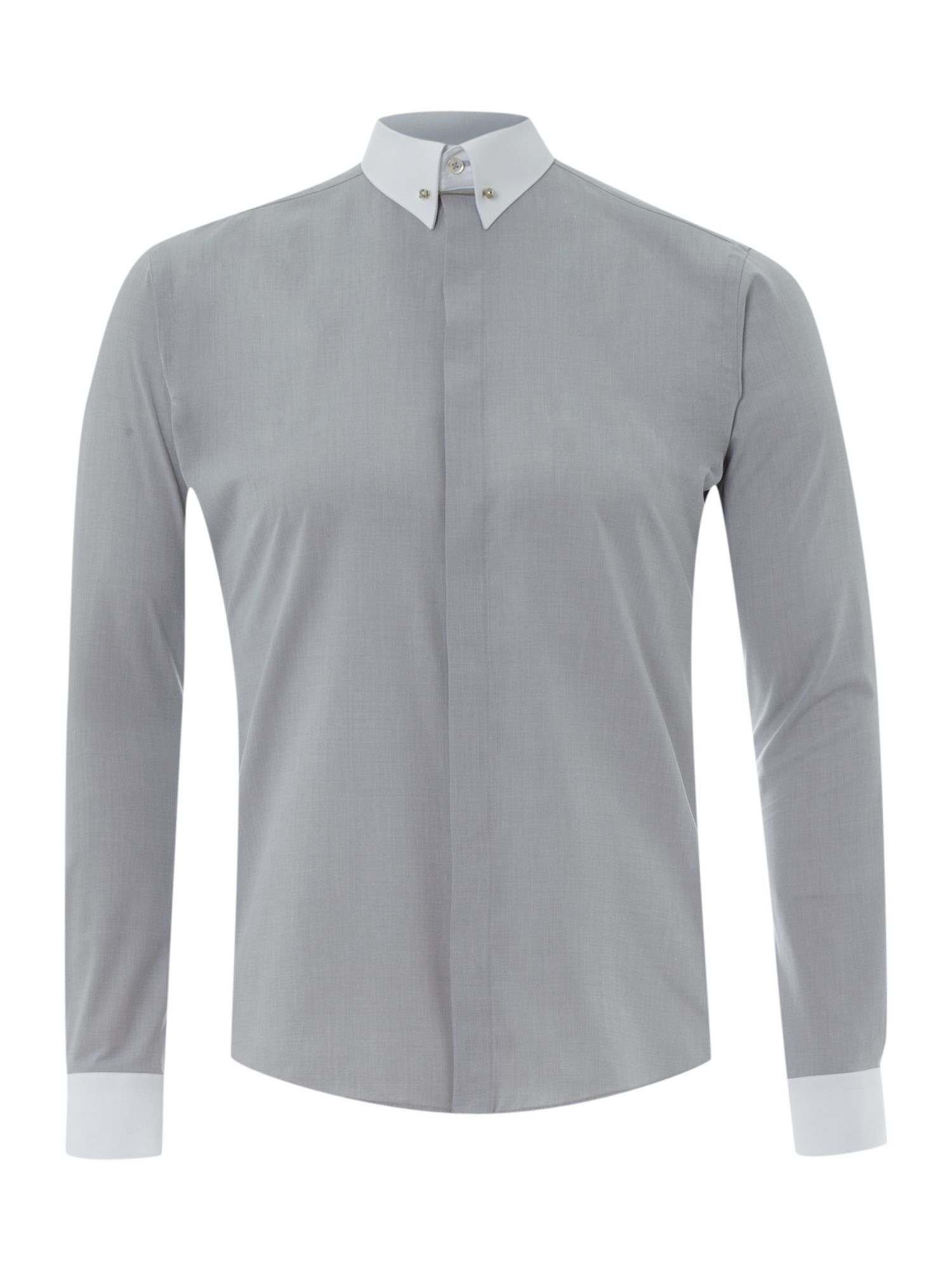 Remus uomo contrast pin collar and cuff shirt in gray for for Mens dress shirts with contrasting collars and cuffs