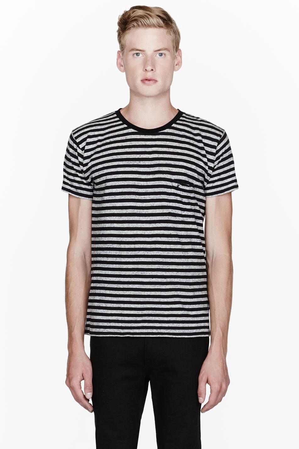 Saint laurent heather grey and black striped ruched pocket for Grey striped t shirt