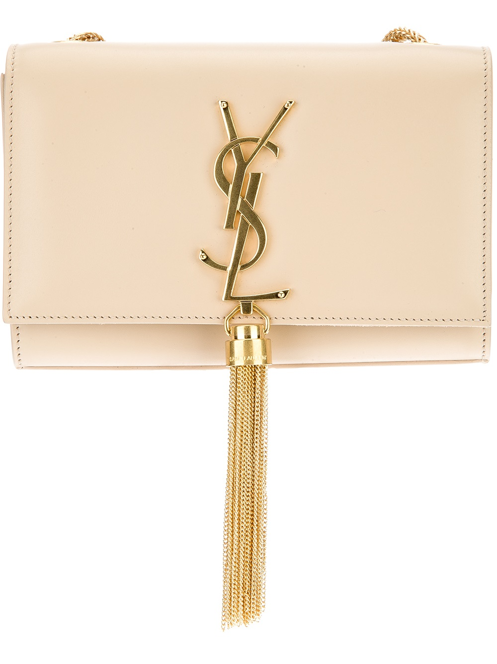 97dc3dd1f0f Lyst - Saint Laurent Small Cassandre Tassel Shoulder Bag in Natural