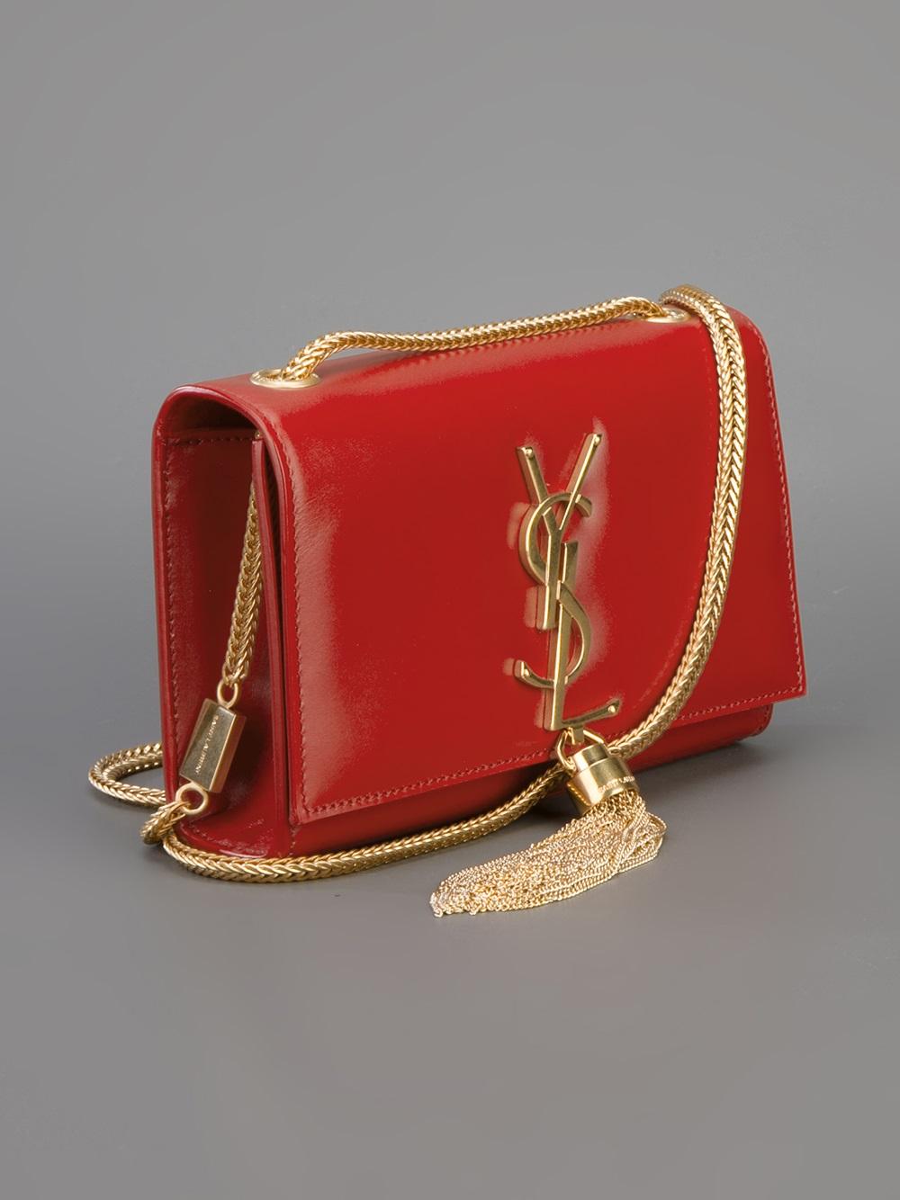 Saint Laurent Small Cassandre Tassel Shoulder Bag In Red