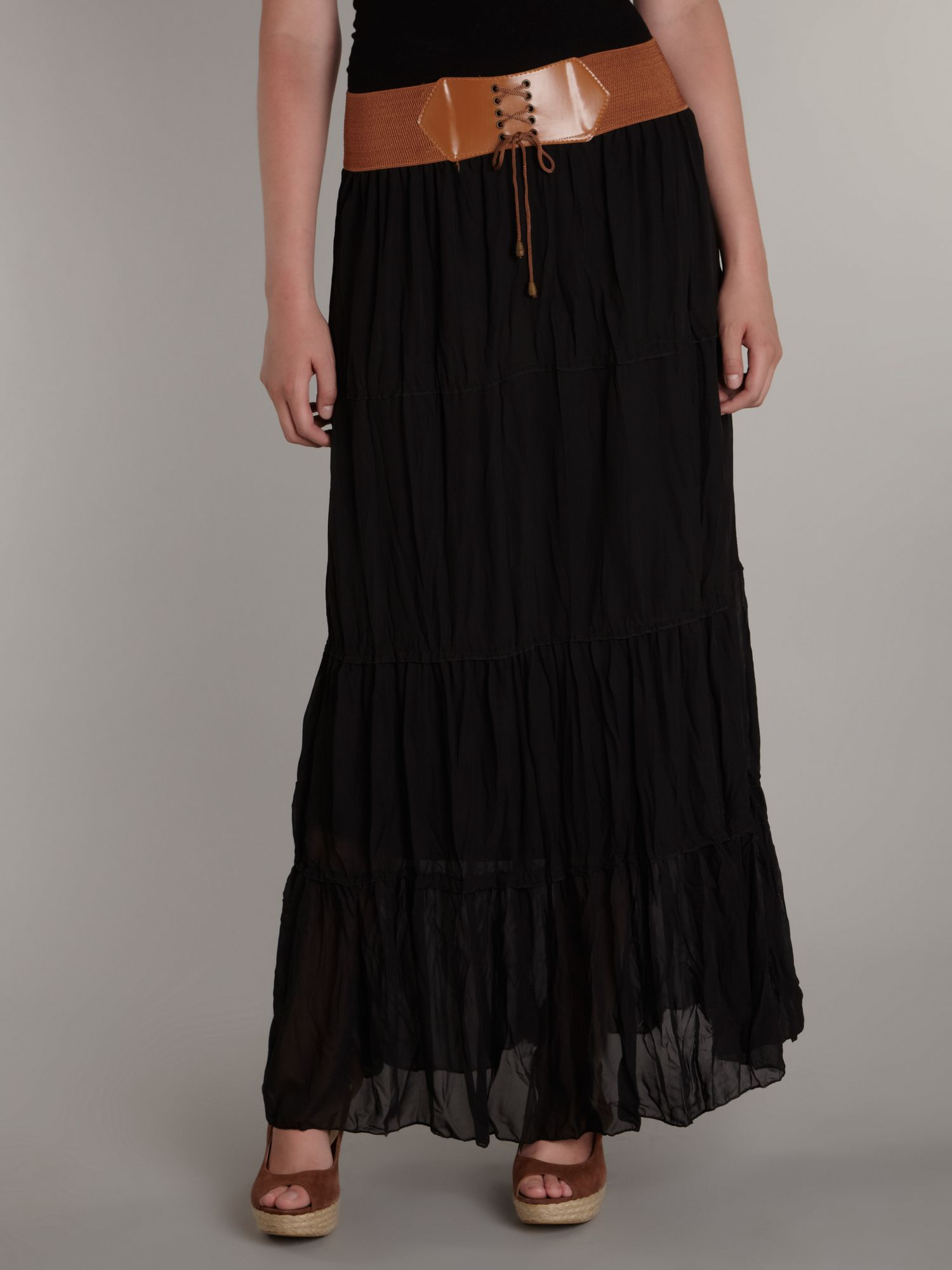 Sodamix Belted Waist Crinkle Maxi Skirt in Black | Lyst
