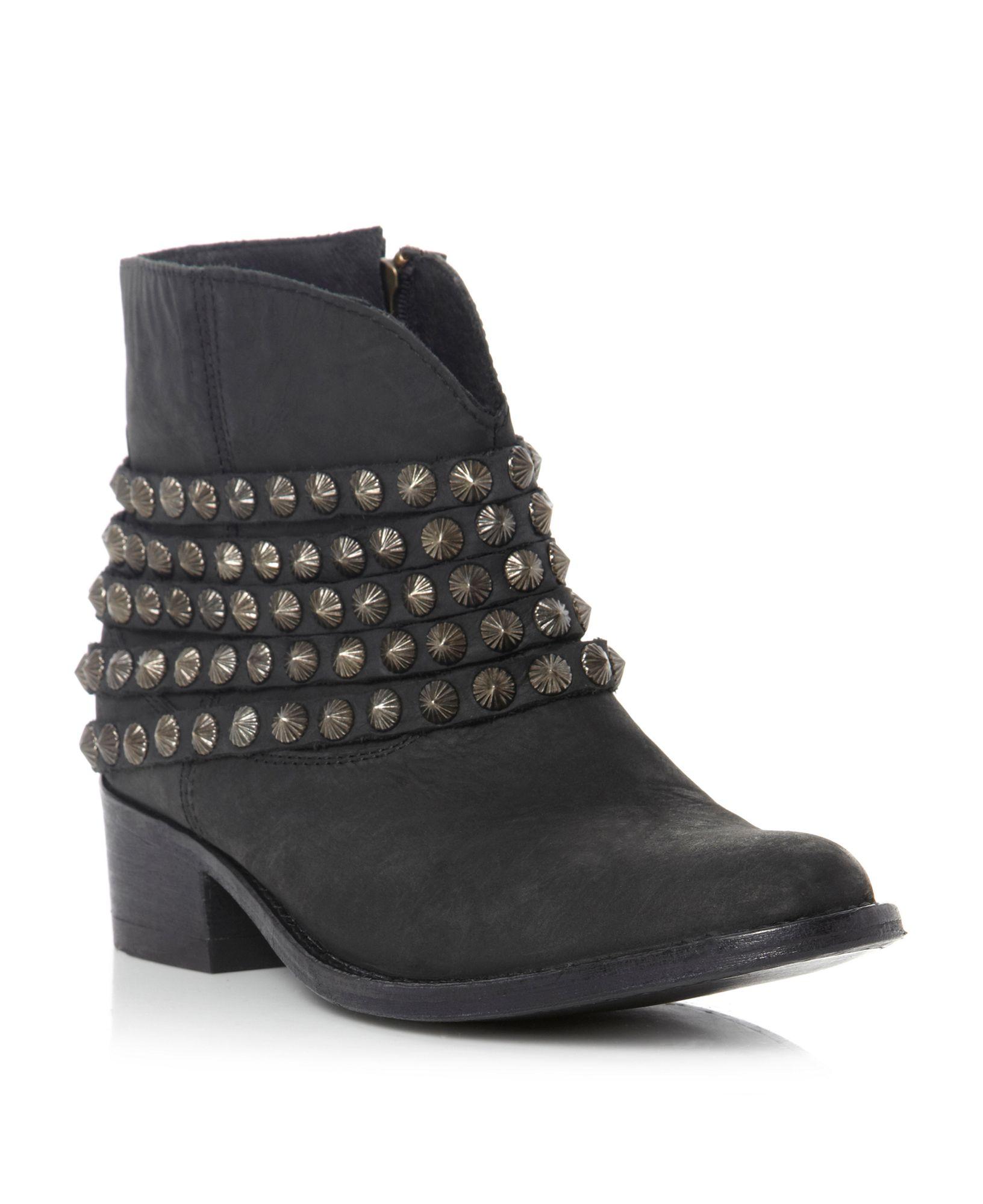 steve madden jaane stud ankle boots in black black