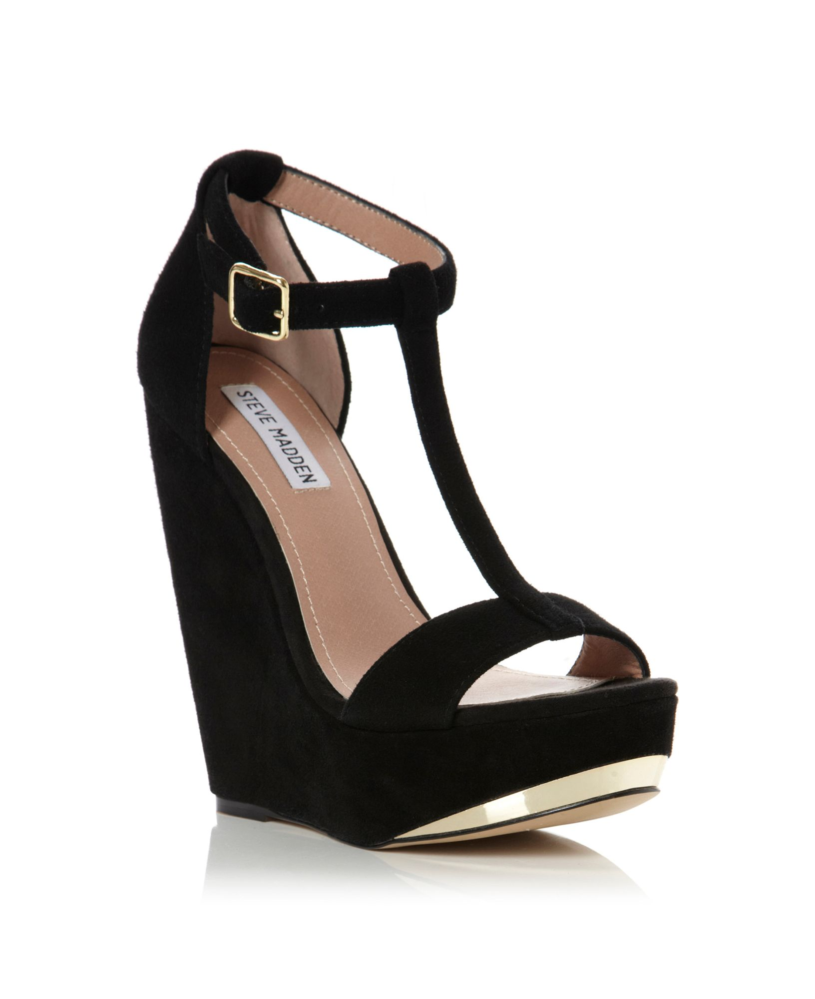 Steve Madden Xtreme Tbar Wedge Sandals In Black