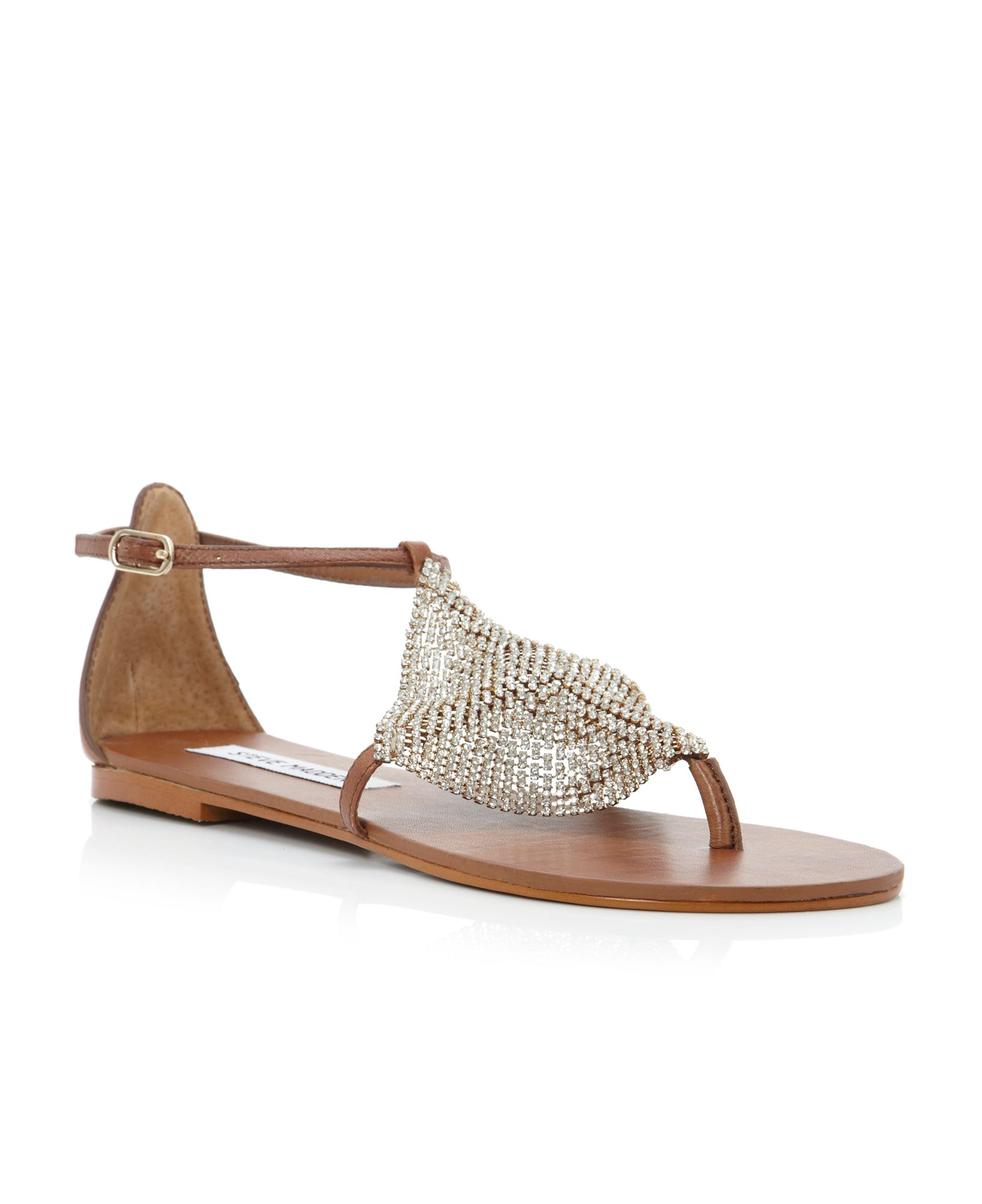 steve madden shineyy diamante toe flat sandals in