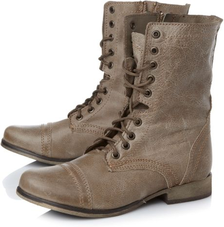 steve madden troopa sm lace up boots in gray for
