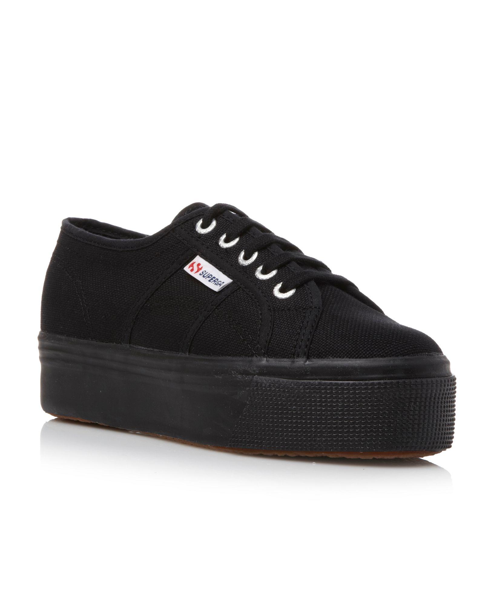 superga flatform lace up shoes in black lyst