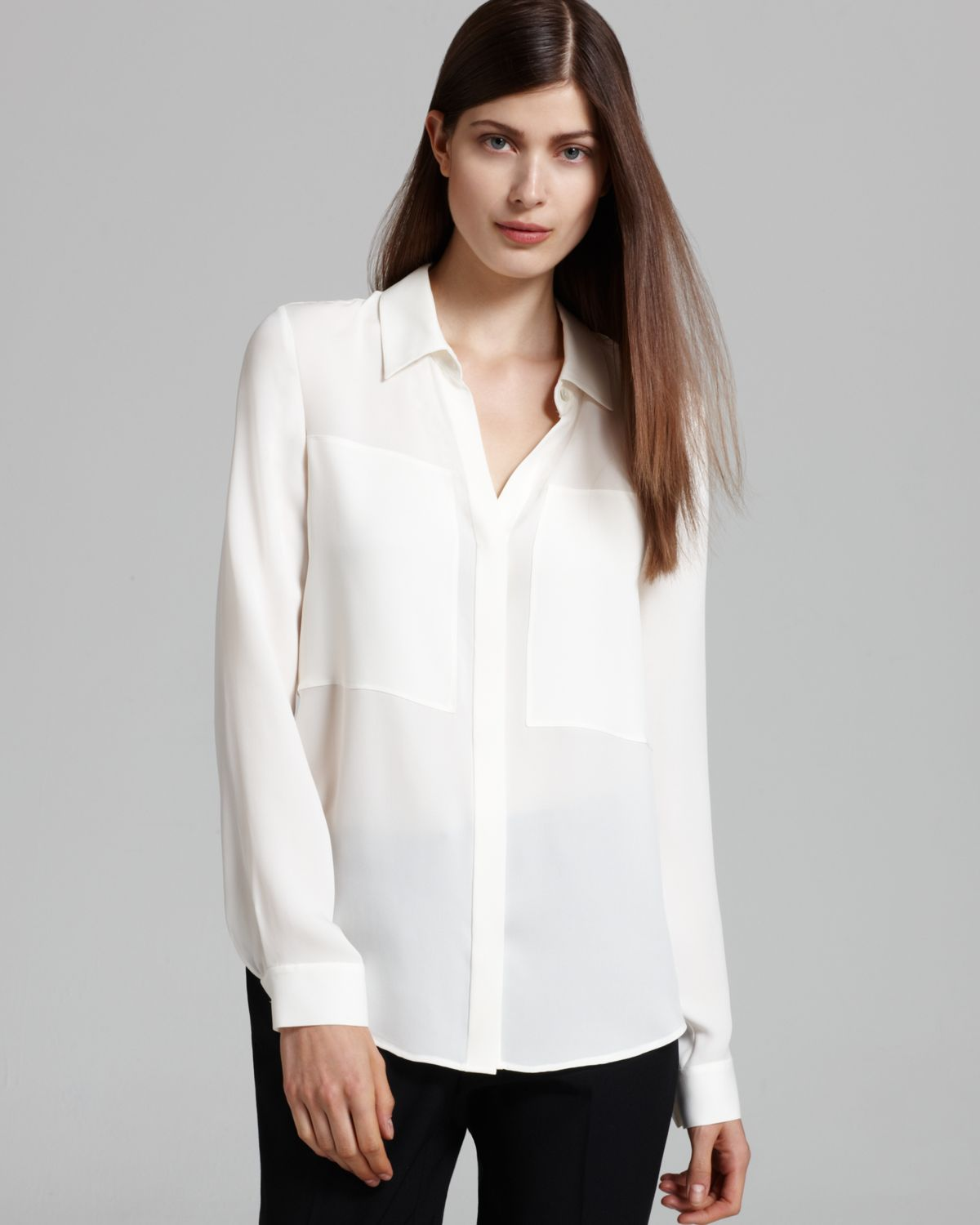 Theory Blouse - Durlia Double Georgette Long Sleeve in White | Lyst